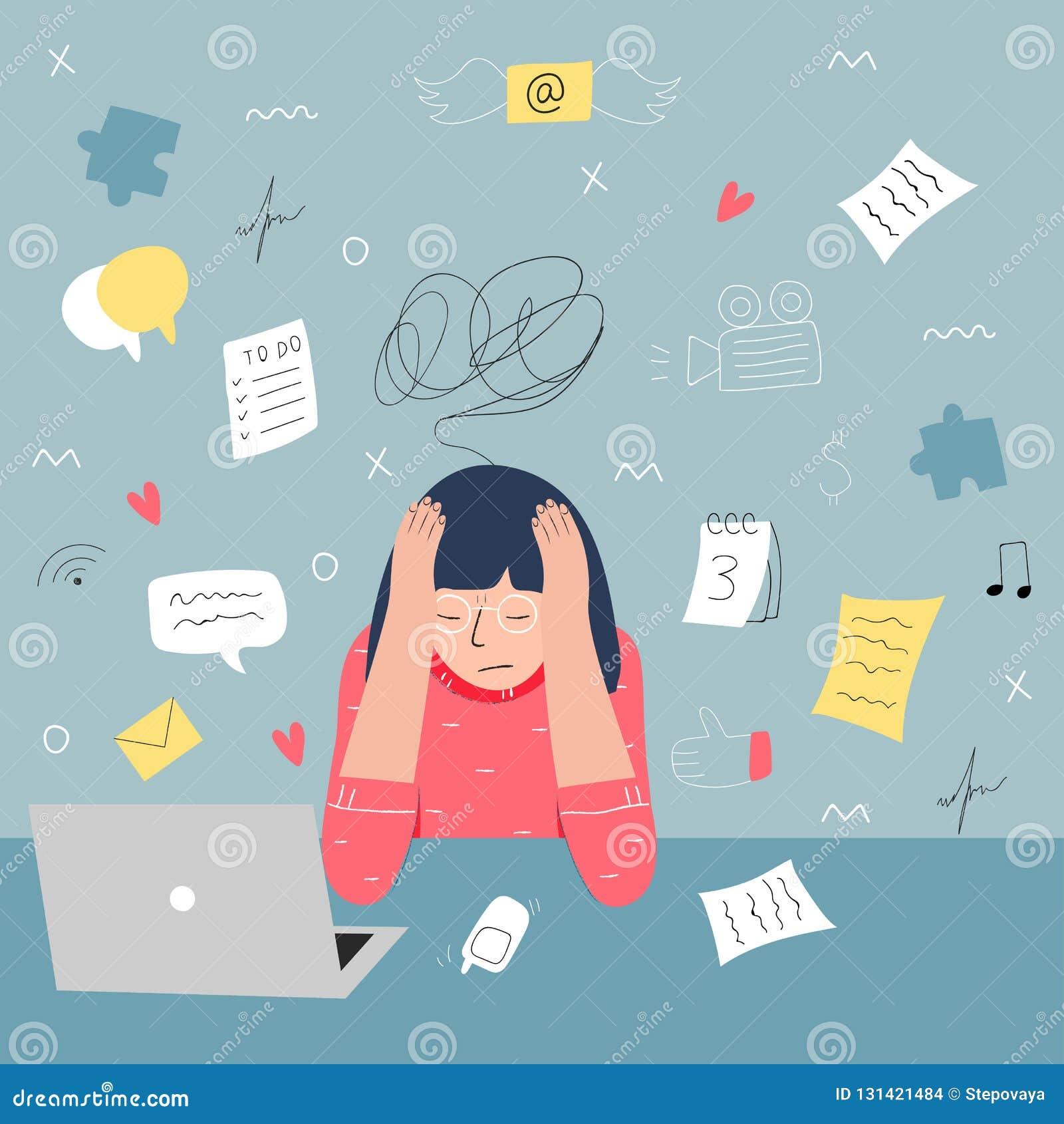 Ewidencyjny przeciążenie i multitasking problemu pojęcie Płaska i handdrawn wektorowa ilustracja