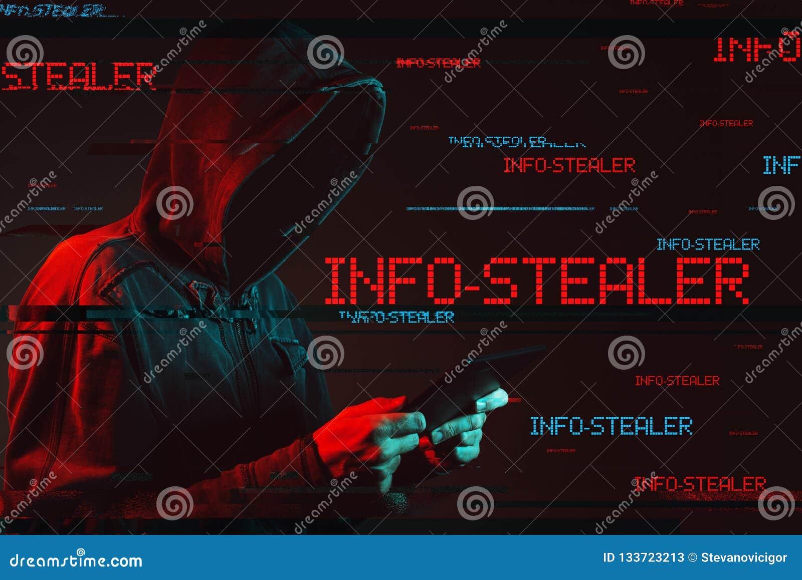 Ewidencyjny stealer pojęcie z beztwarzową kapturzastą męską osobą