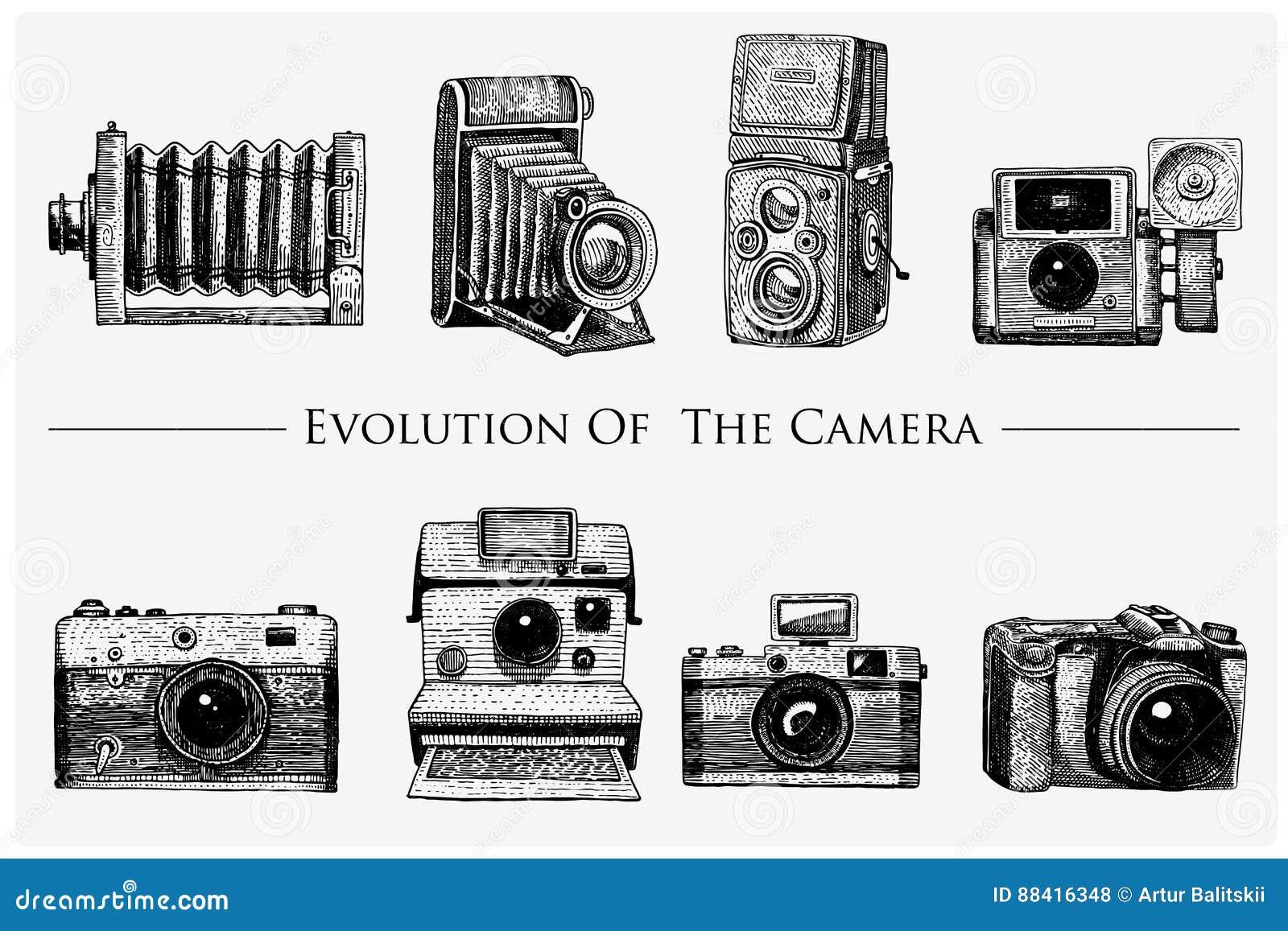 Ewolucja fotografia, wideo, film, film kamera od najpierw do rocznika teraz, grawerował rękę rysującą w nakreślenia lub drewna ci