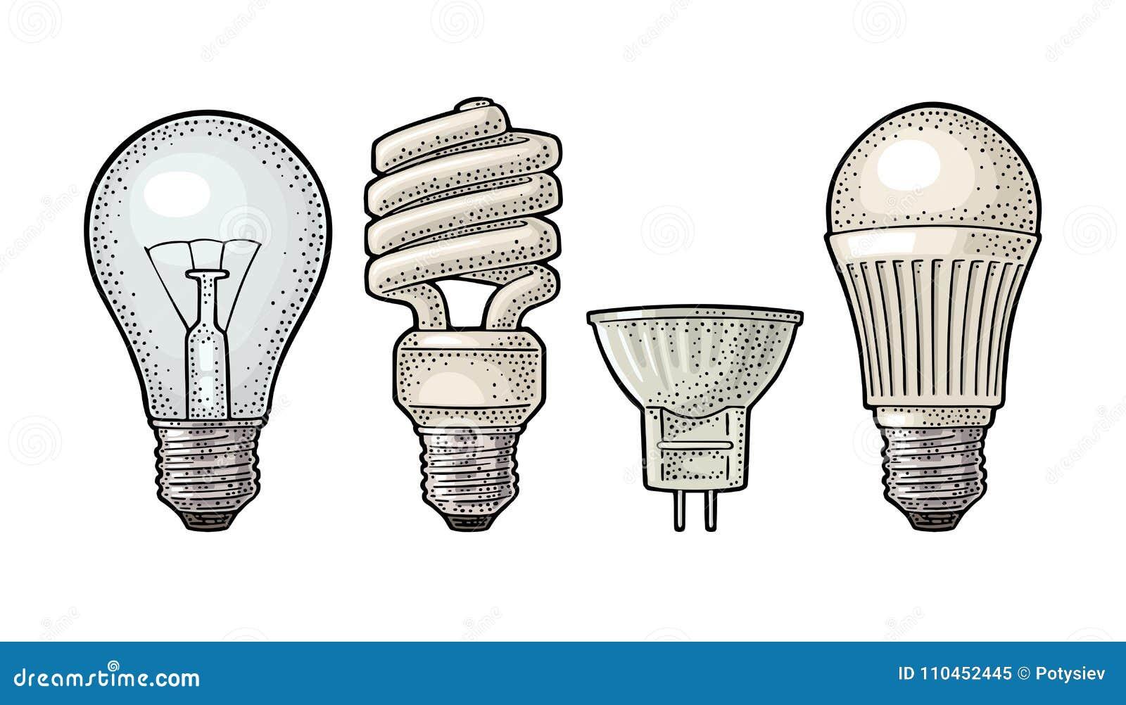 Ewolucja typ elektryczna lampa Płonąca żarówka, fluorowiec, cfl i prowadzący