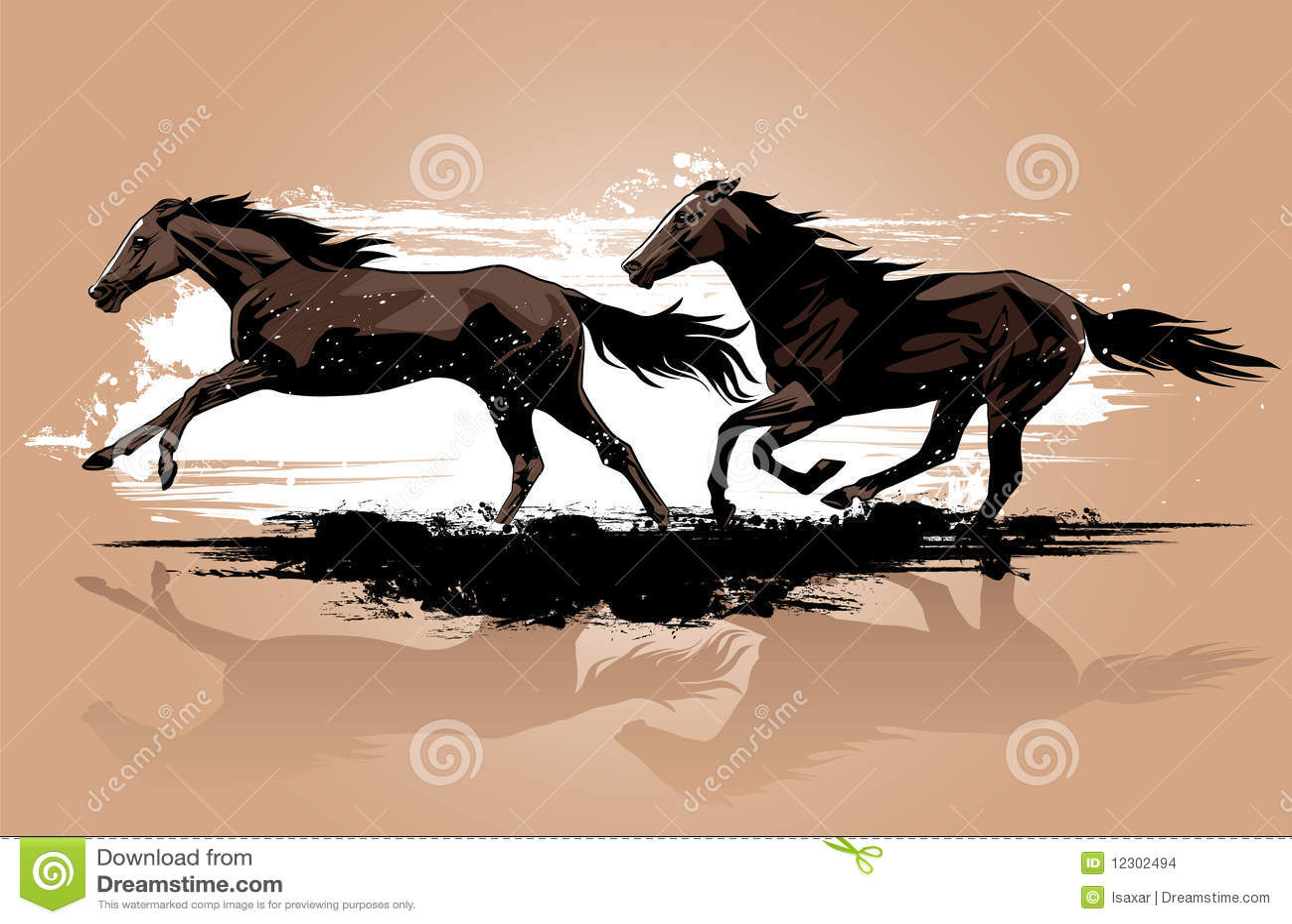 Exécution de chevaux sauvages