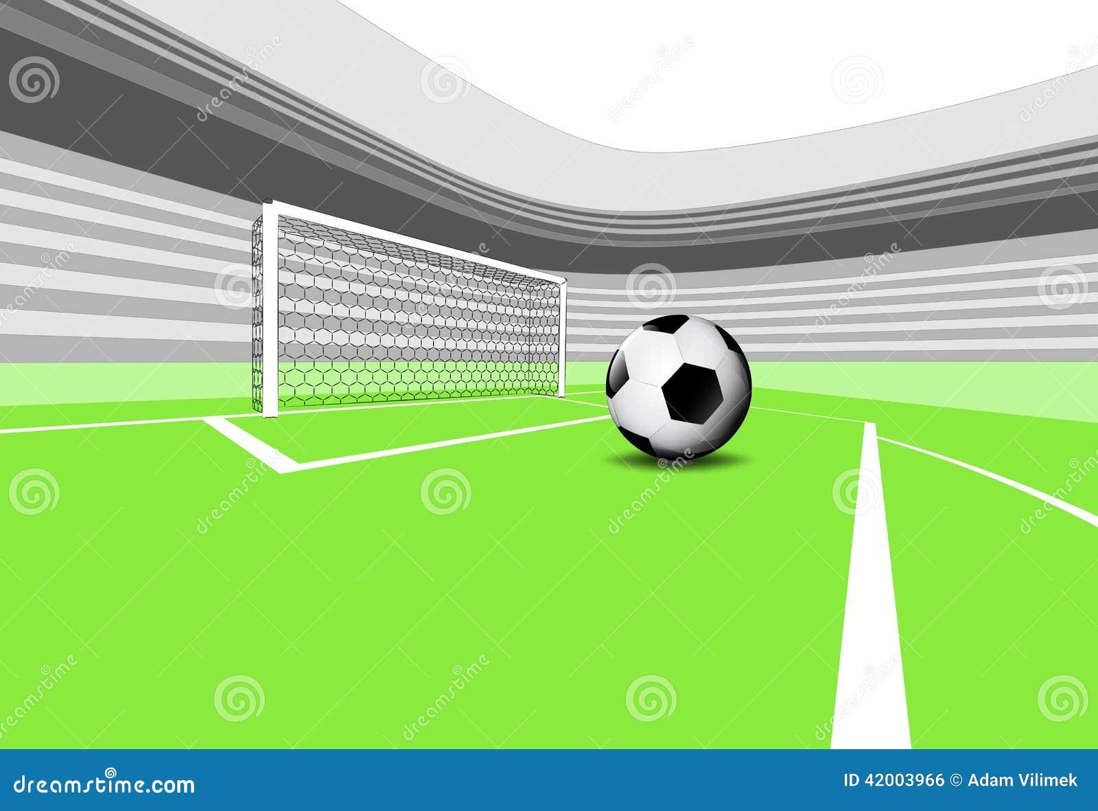 Exécution de pénalité de scène de terrain de jeu du football avec le stade vide