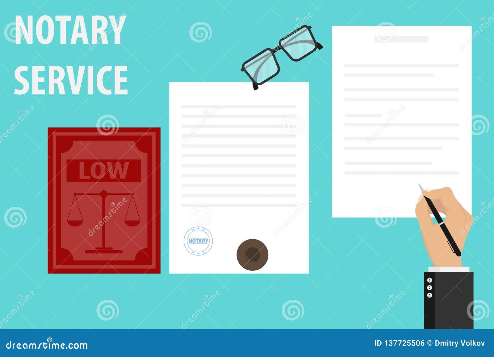 Exécution de service de notaire de joint et de signature de documents sur des papiers Le notaire signe le document et les timbres
