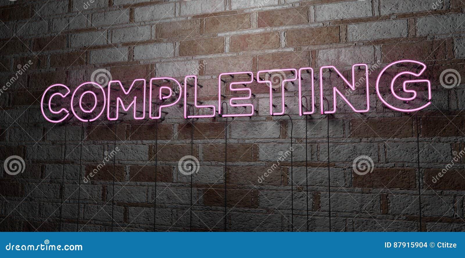 EXÉCUTION - Enseigne au néon rougeoyant sur le mur de maçonnerie - 3D a rendu l illustration courante gratuite de redevance