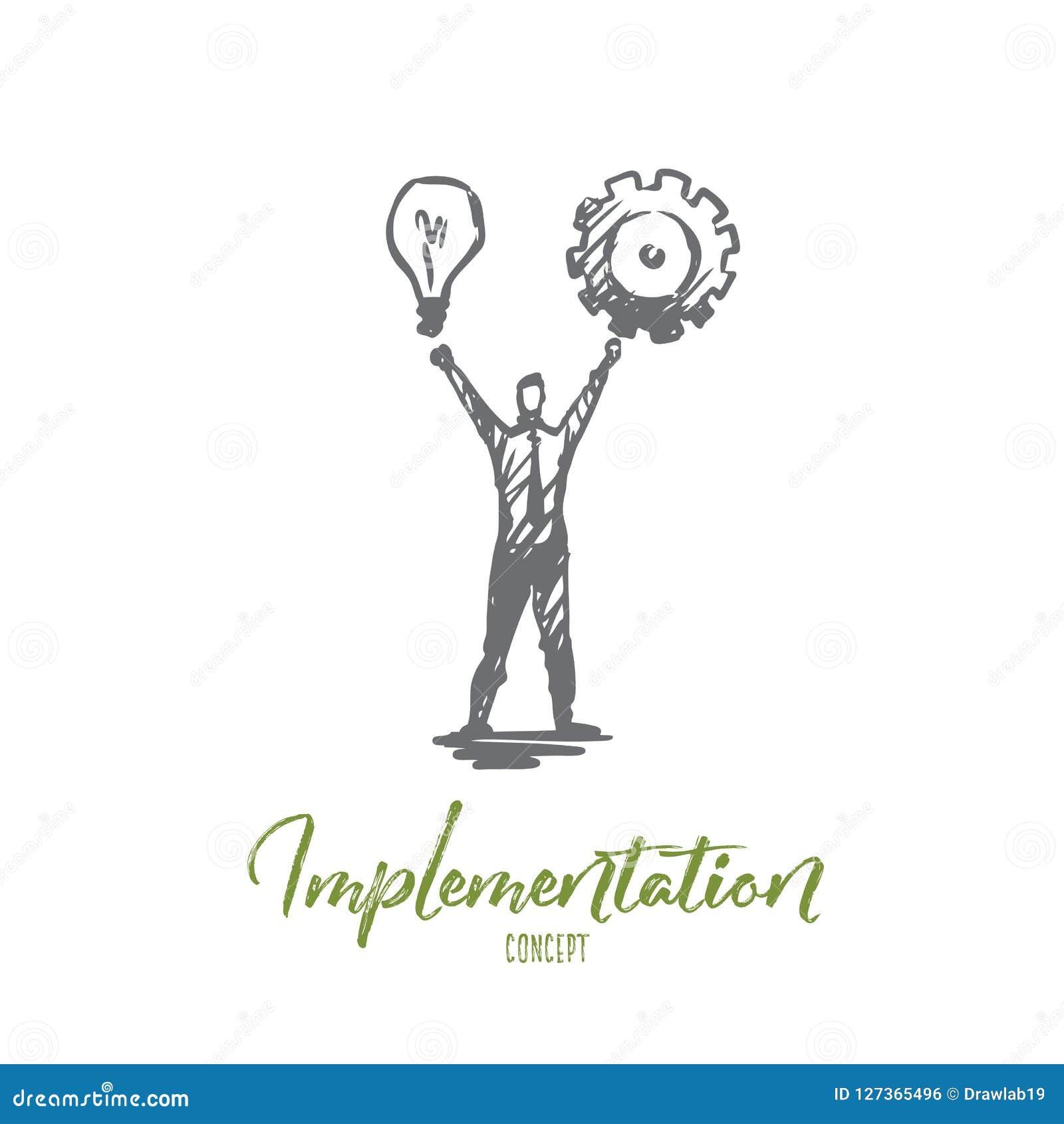Exécution, homme, idée, affaires, concept de roue dentée Vecteur d isolement tiré par la main