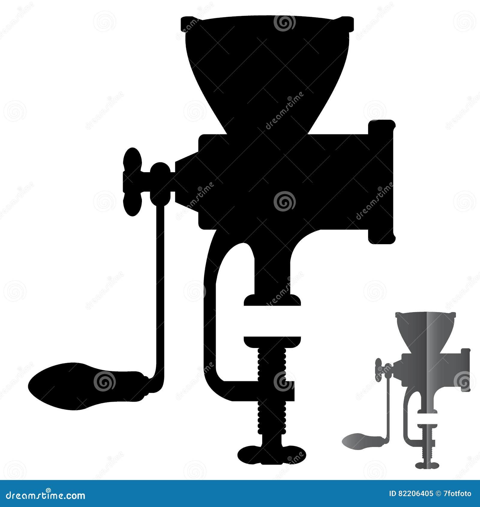 Exécution mécanique manuelle de vecteur de broyeur de silhouette
