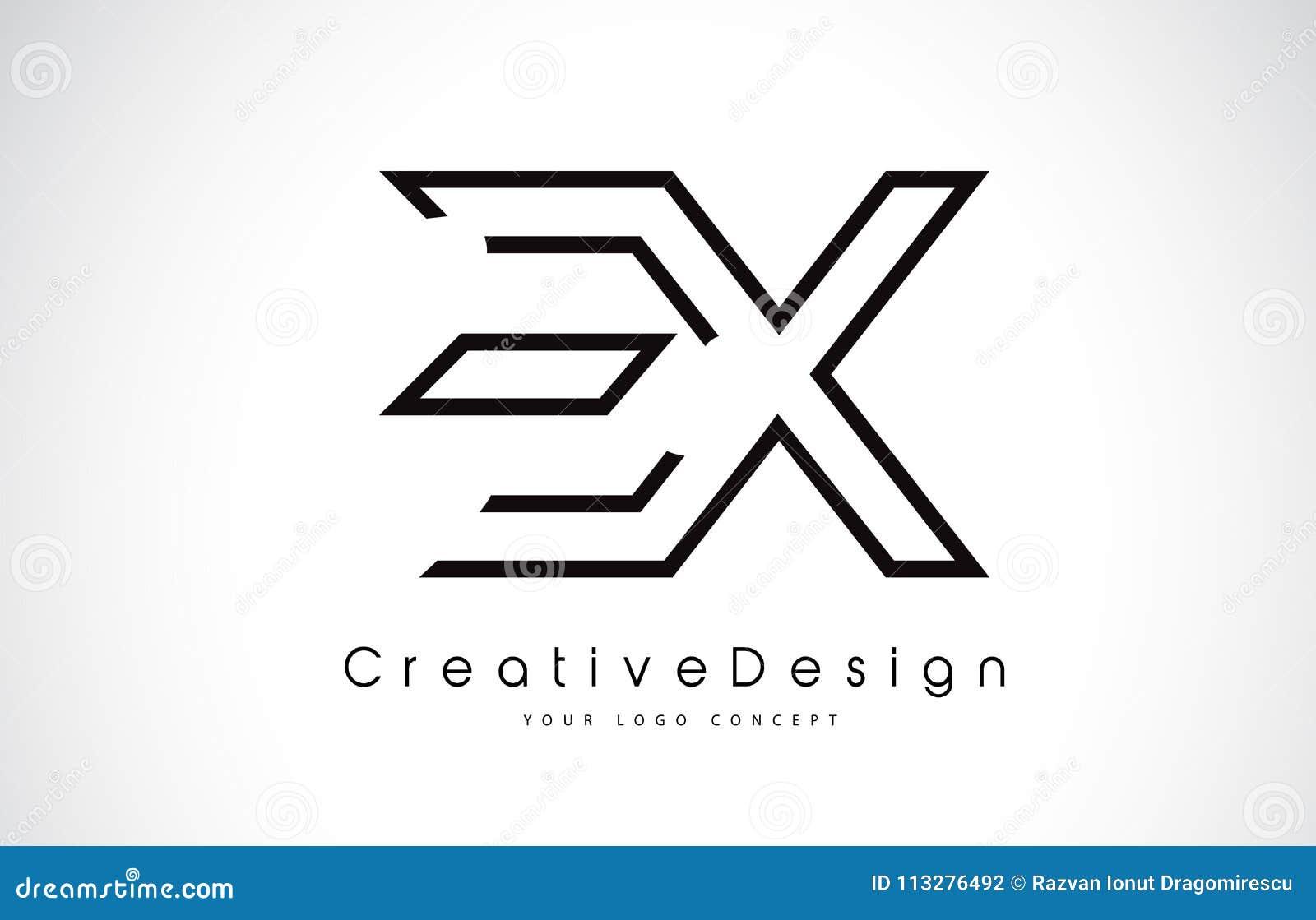 EX E X Letter Logo Design in Black Colors.