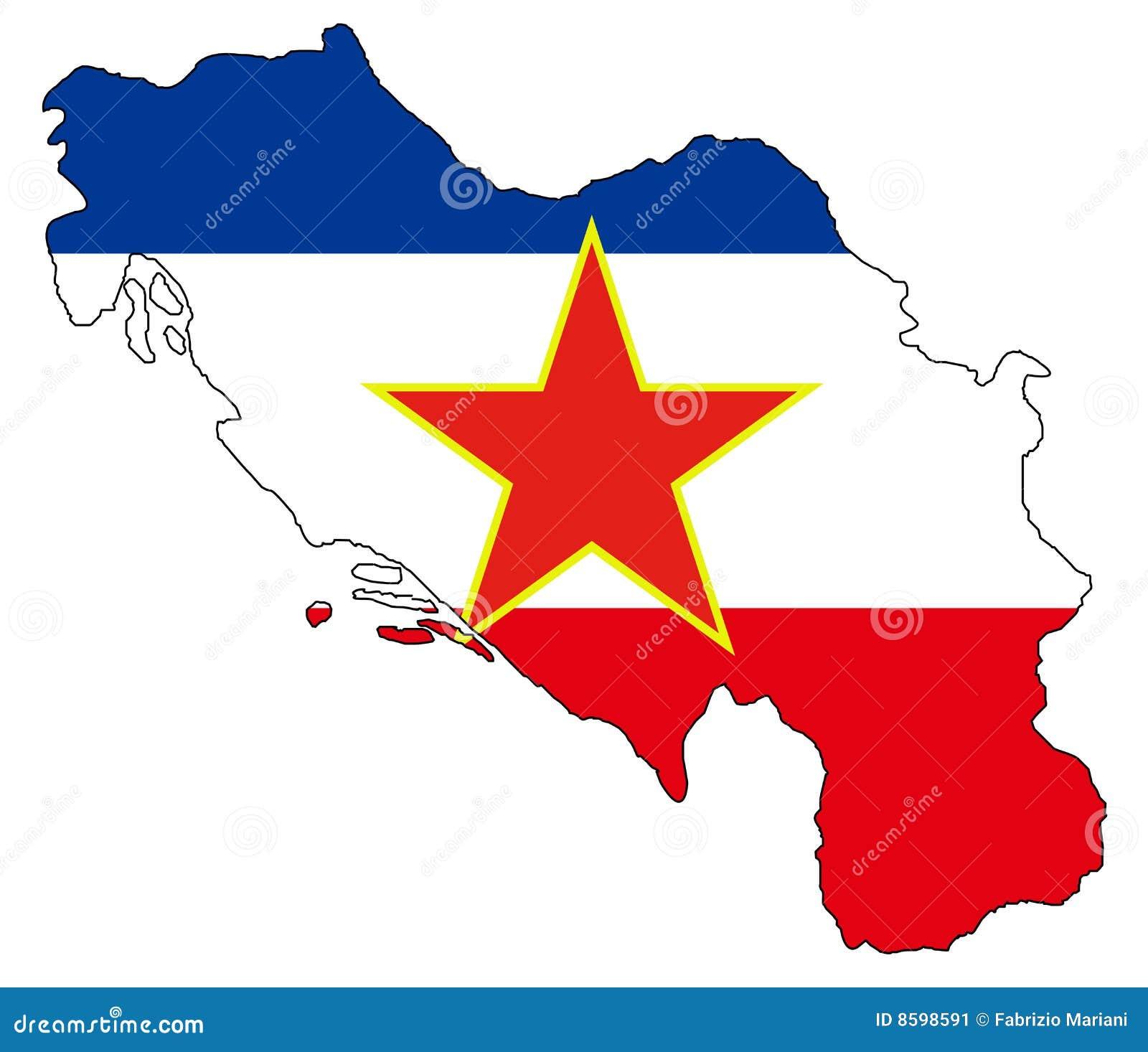 Alte Jugoslawien Karte.Ex Jugoslawien Karte Und Markierungsfahne Vektor Abbildung