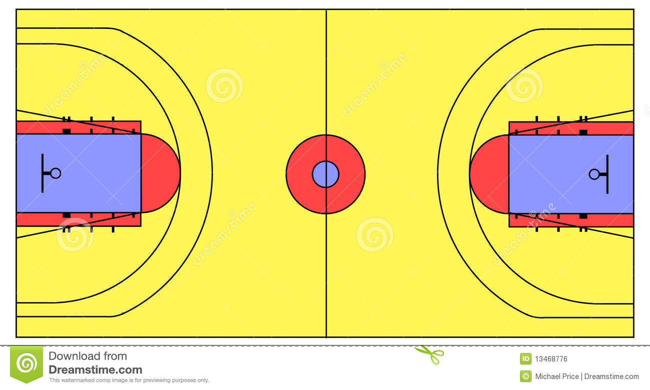 An Exact Scale Vector Basketball Court Royalty Free Stock
