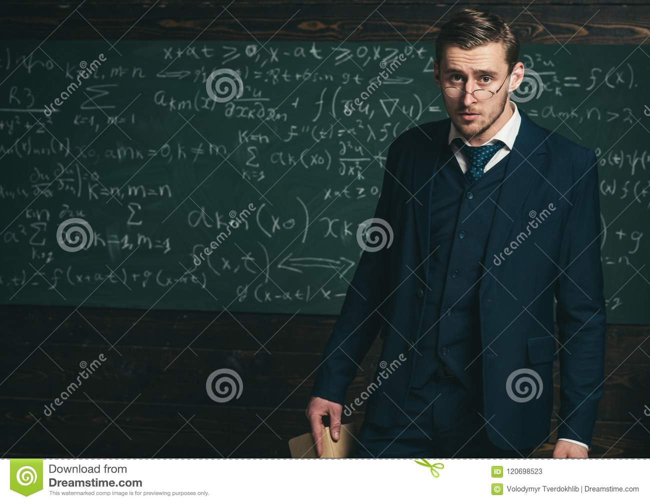 Exacting teacher. Man with high expectations looks unsatisfied with students knowledge. Professor exacting and strict
