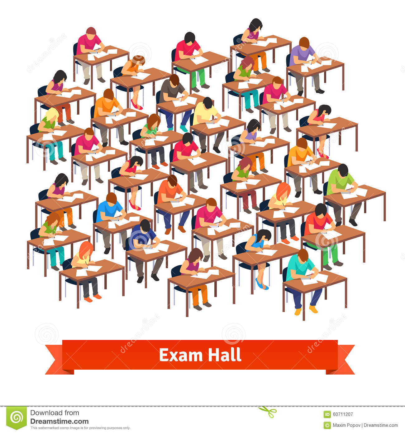 Classroom Layout Clipart ~ Exam classroom full of students writing a test stock