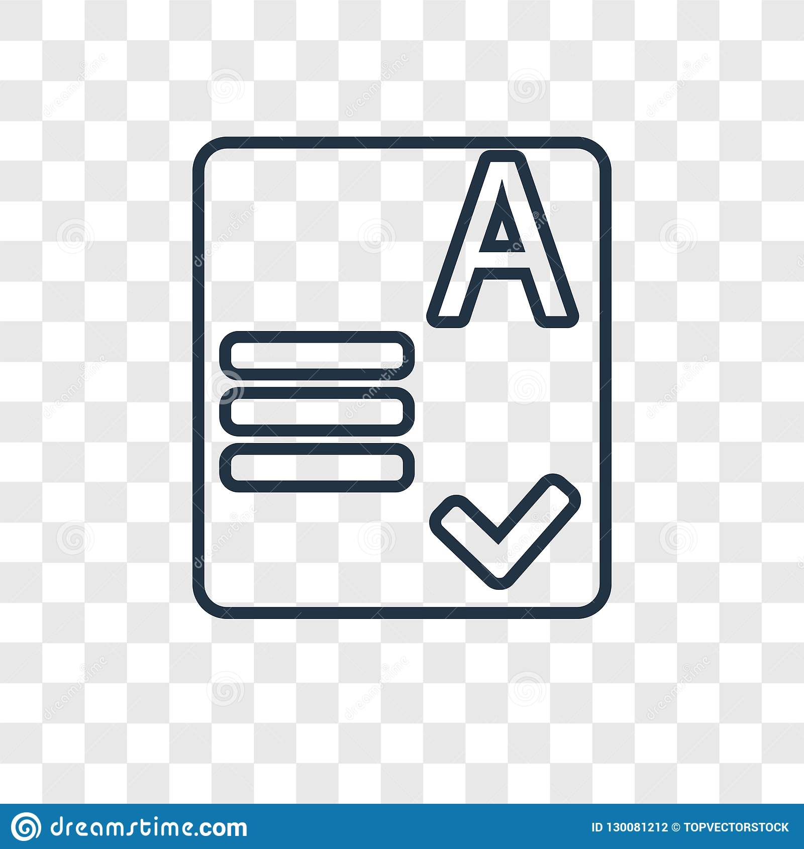 Exam concept vector linear icon on transparent backgrou
