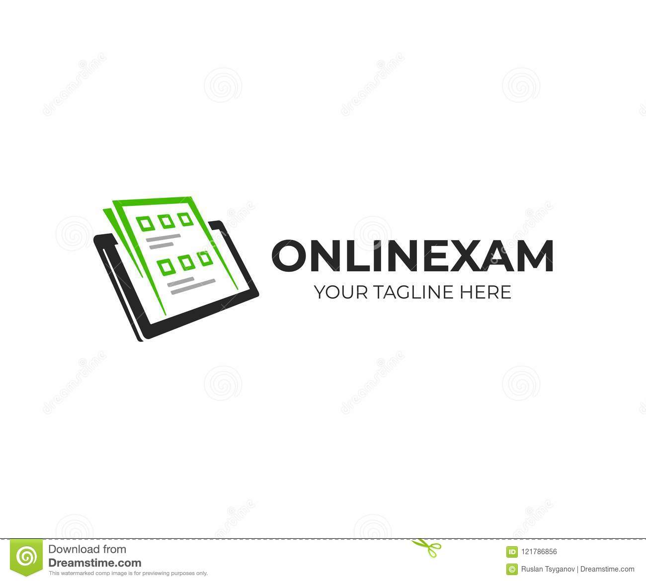 Exam Paper And Tablet Logo Template Online Exam Vector Design Stock