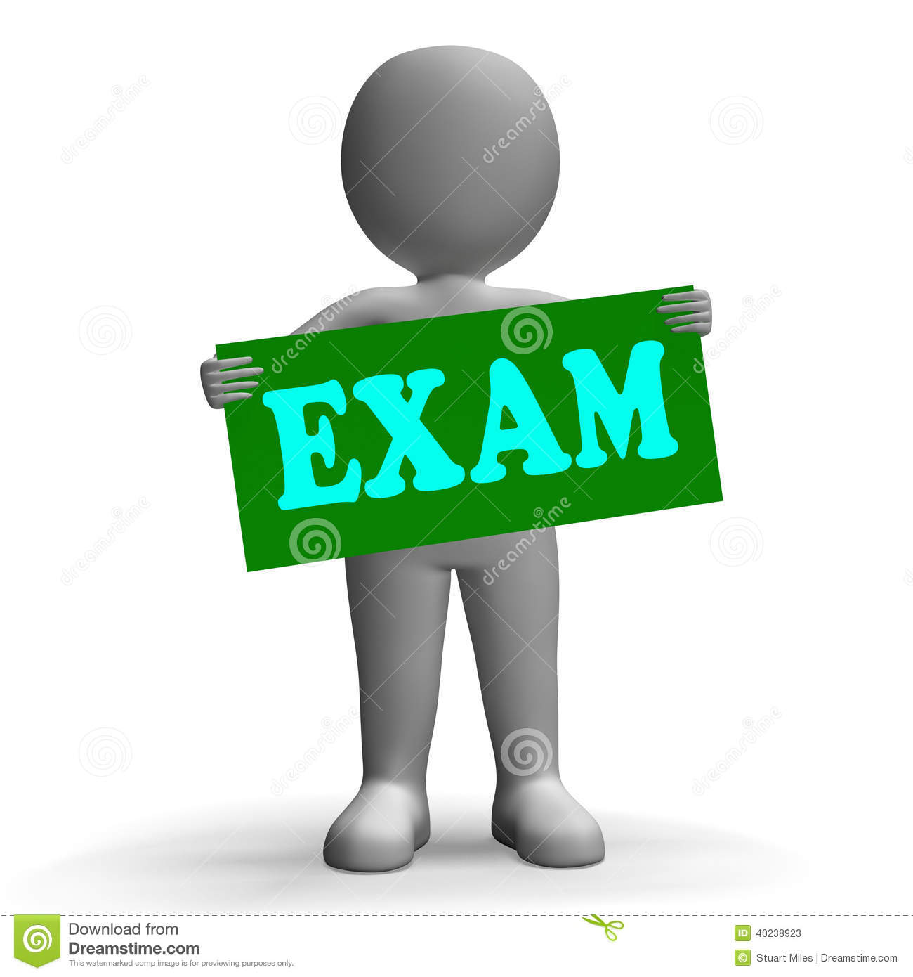 Exam sign character means examinations and stock illustration image