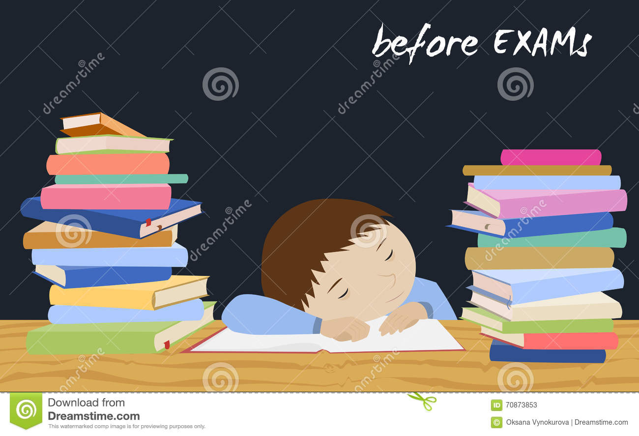 Exam student stress schoolboy sleeping on books stock vector download comp thecheapjerseys Images