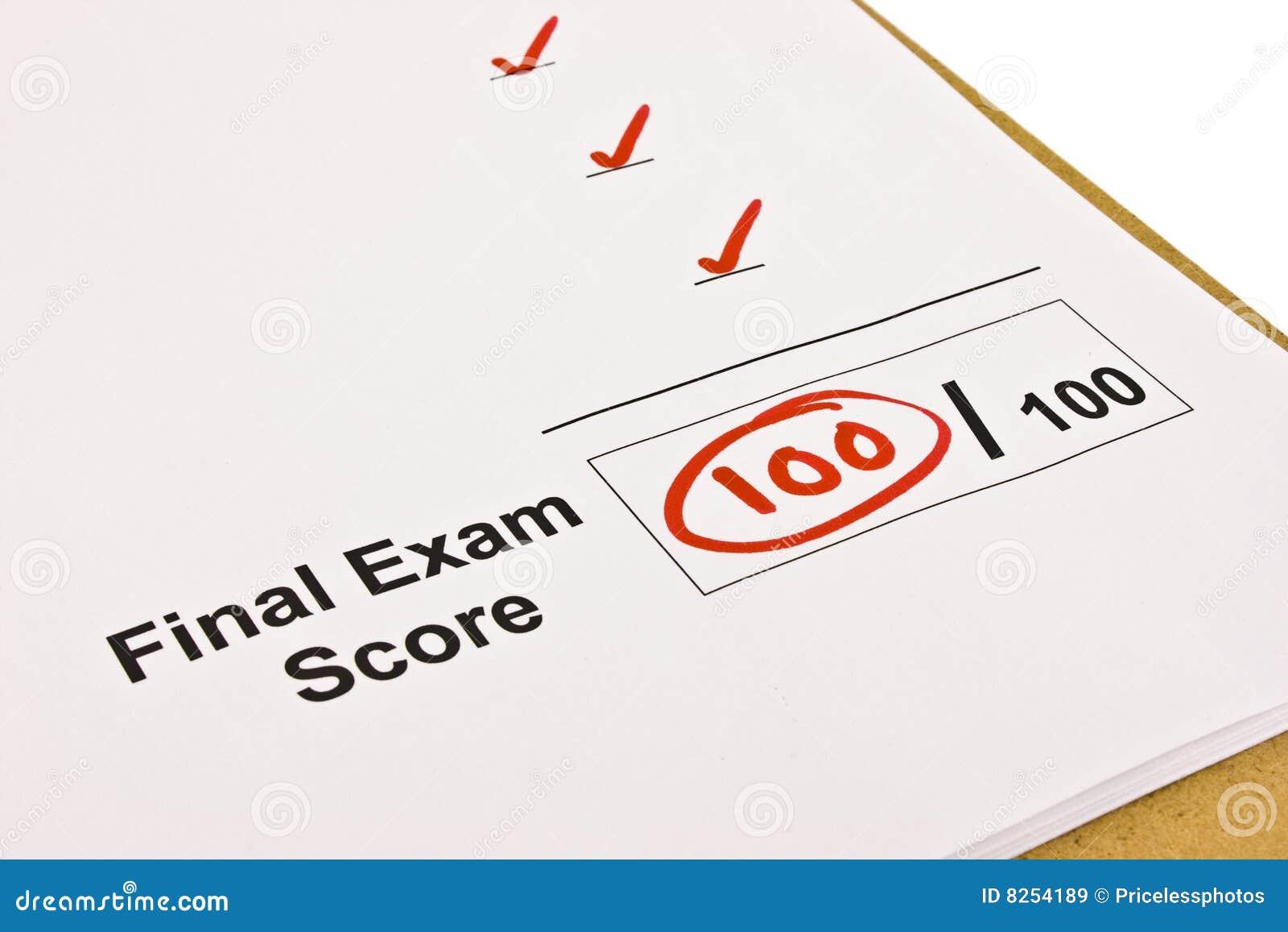 Exame final identificado por meio de 100