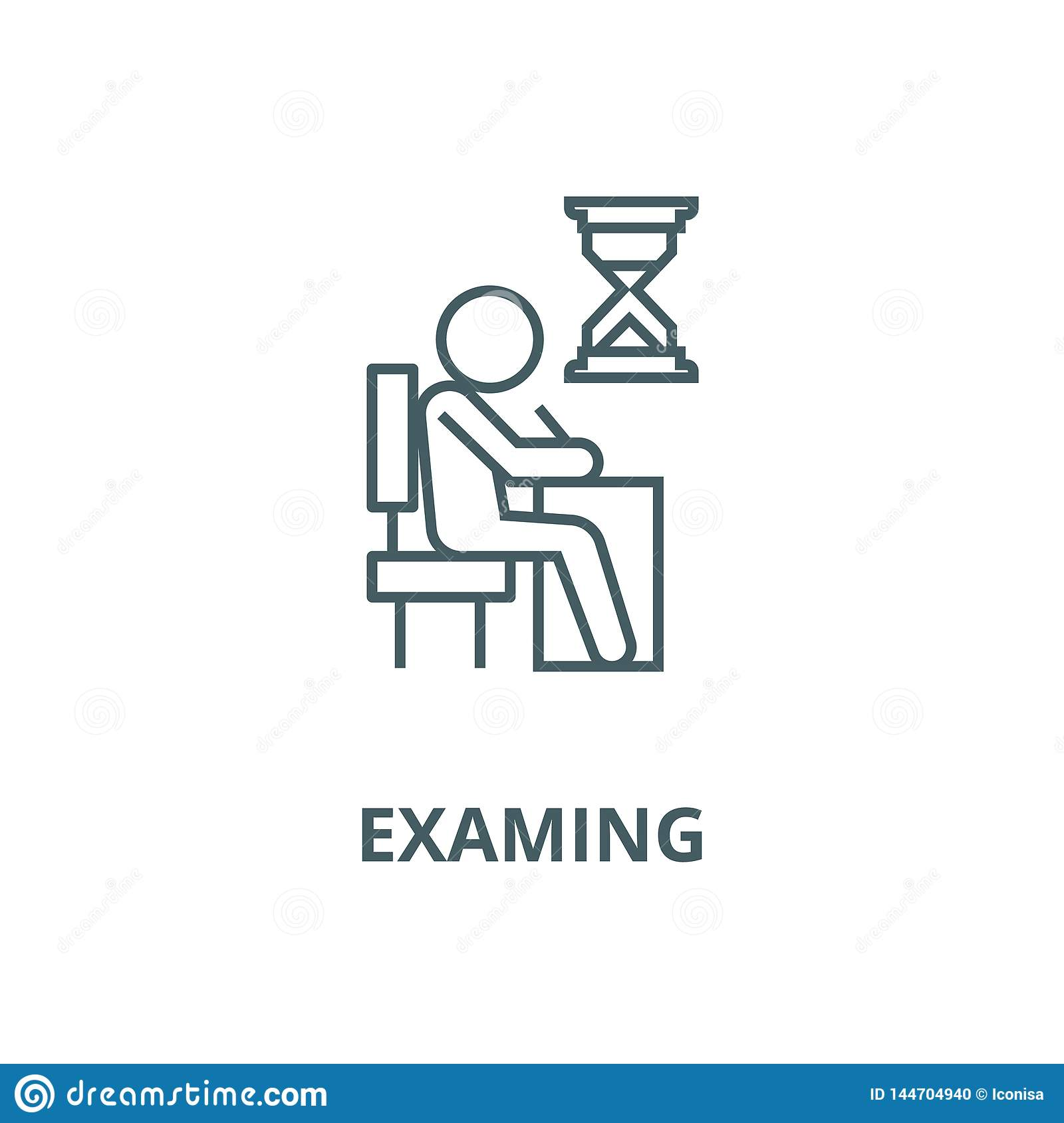 Examing, test, writing man at desk line icon, vector. Examing, test, writing man at desk outline sign, concept symbol