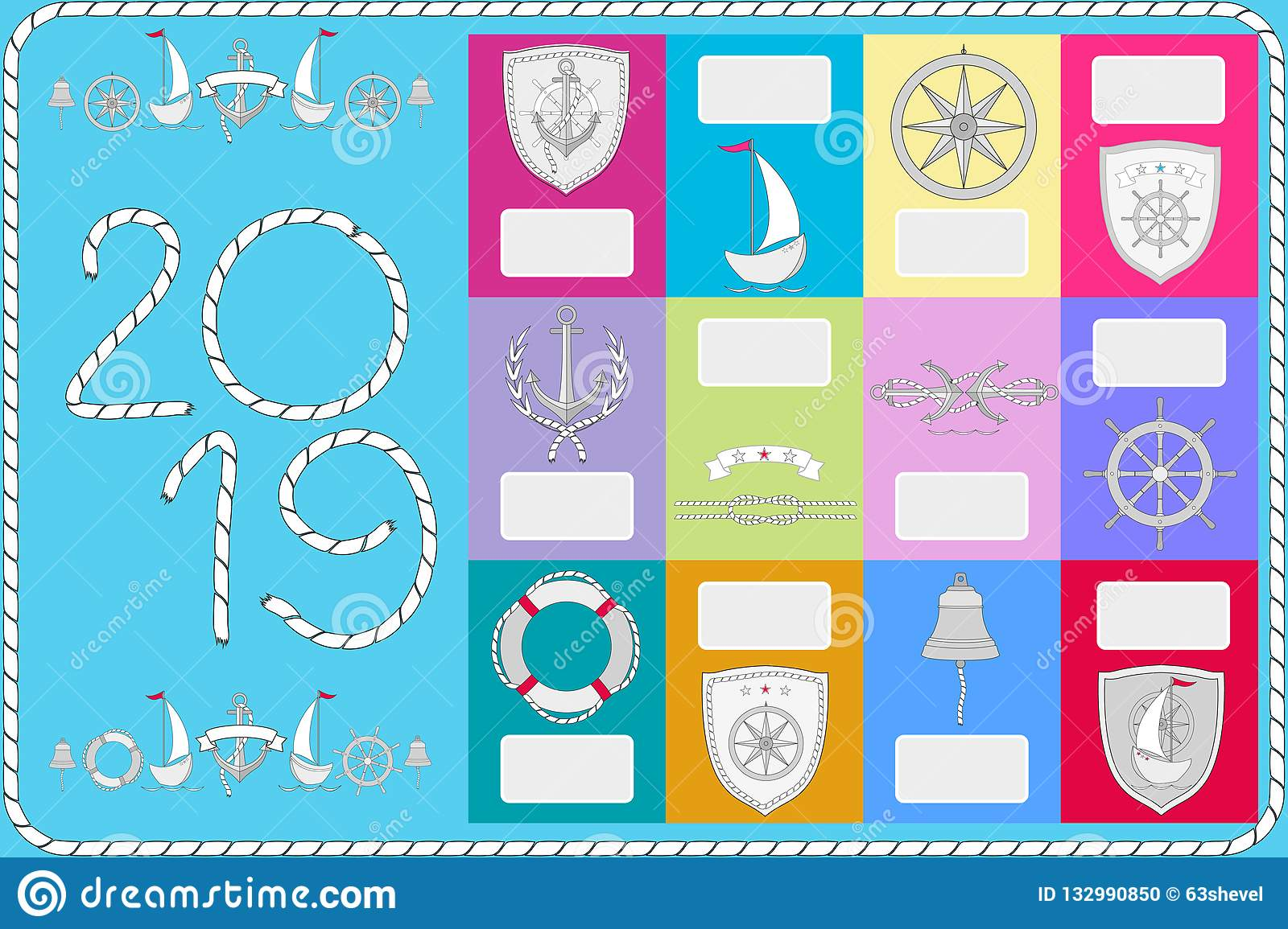 An example of a calendar with sailor symbols. New Year banner 2019.