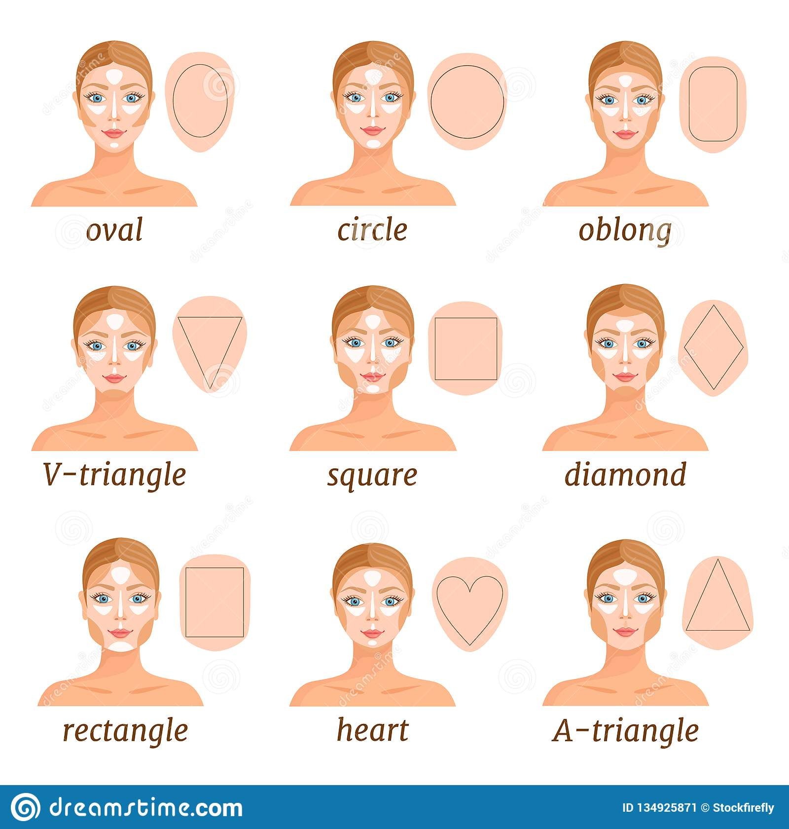 Contouring For Various Face Shapes. Vector Illustration Stock
