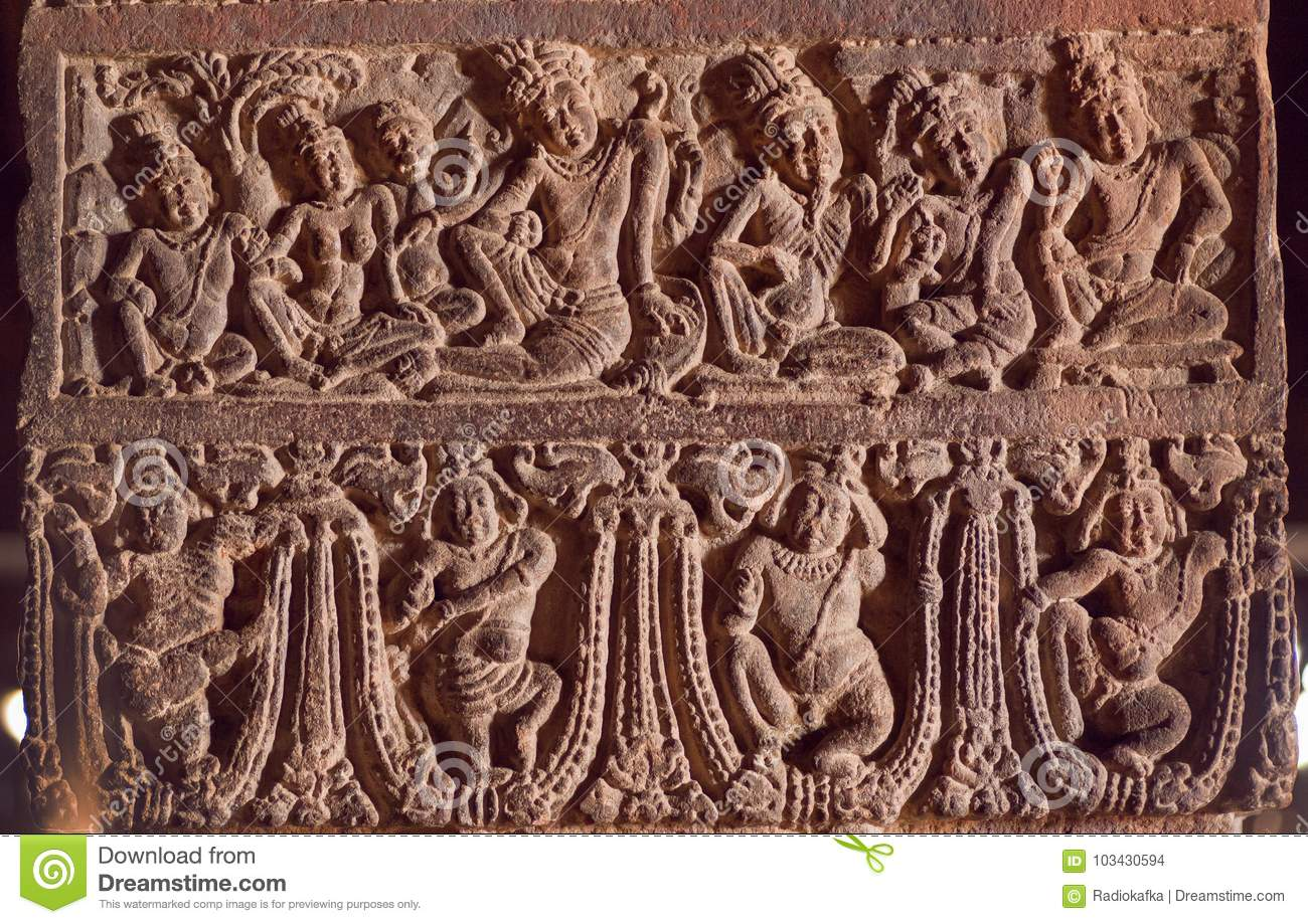 Example Of Indian Art Carvings With Life Of Ancient People