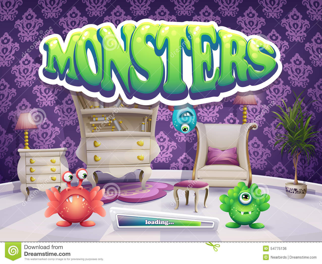 Example of loading screen for the game Monsters