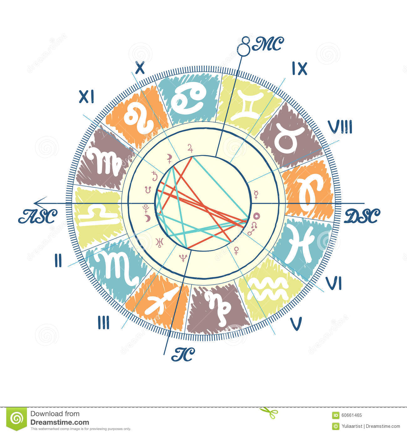 Example of natal chart stock vector illustration of moon 60661465 example of natal chart nvjuhfo Image collections