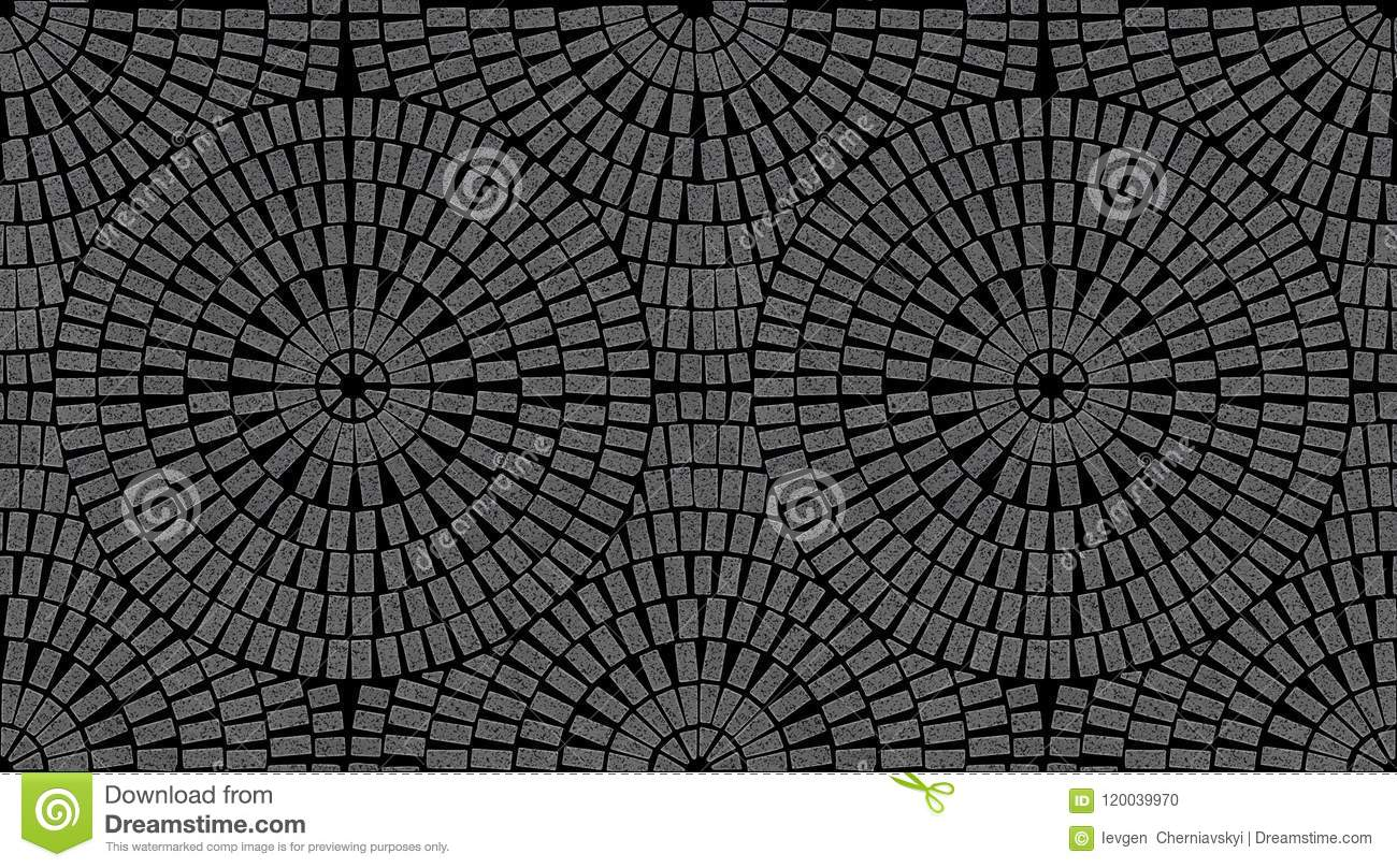 Brick Laying Radial Patterns In Patio Paving Stock Illustration