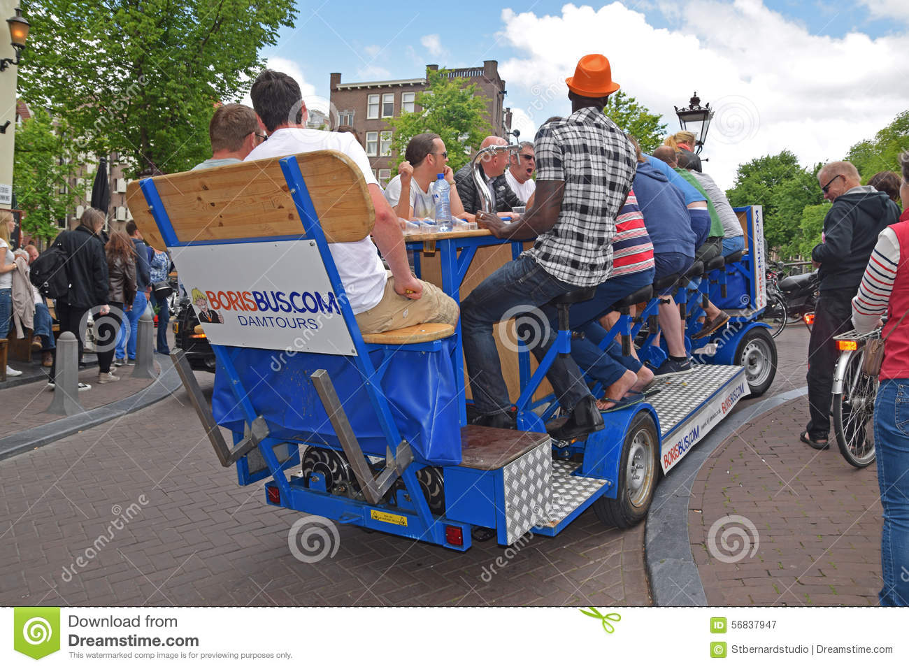 Example of Party Bike in Amsterdam with passengers having a lot of fun together