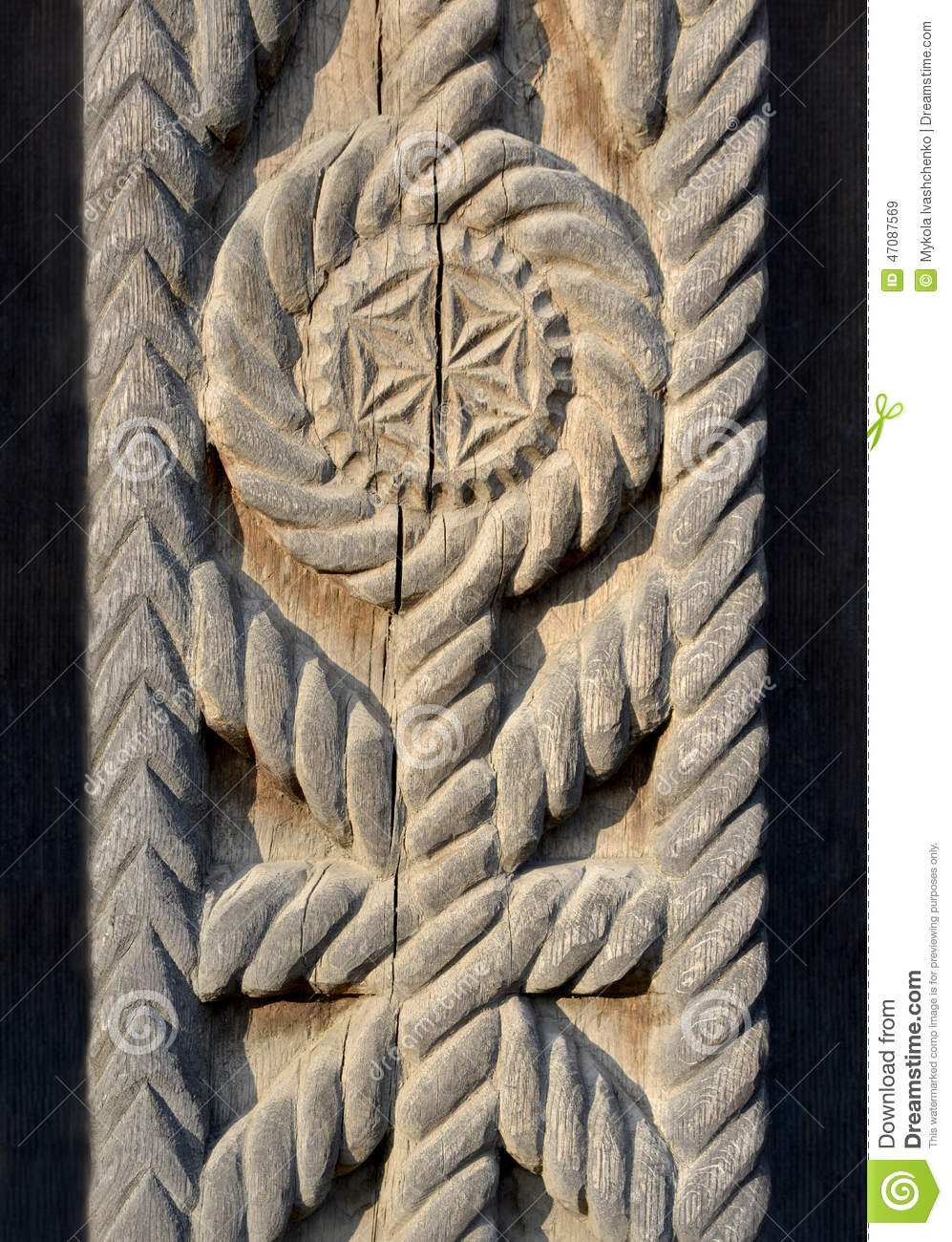 The example of wood carving stock photo image