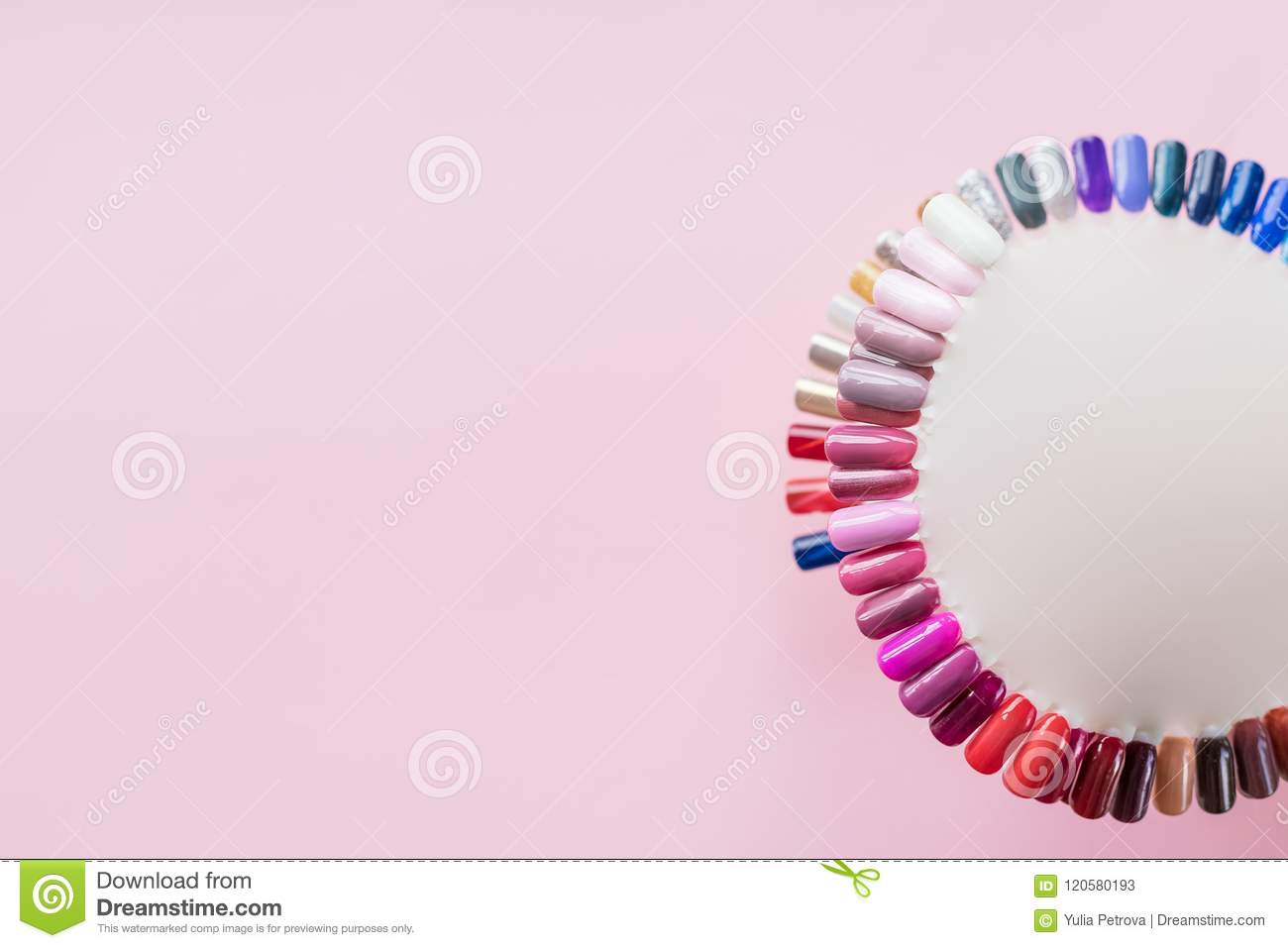 Examples Of Nails Tips On Pastel Pink Background Top View. Manicure ...