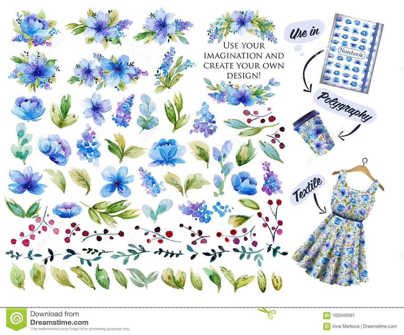 Large set with blue watercolor flowers leaves and floral elemen download large set with blue watercolor flowers leaves and floral elemen stock illustration illustration mightylinksfo