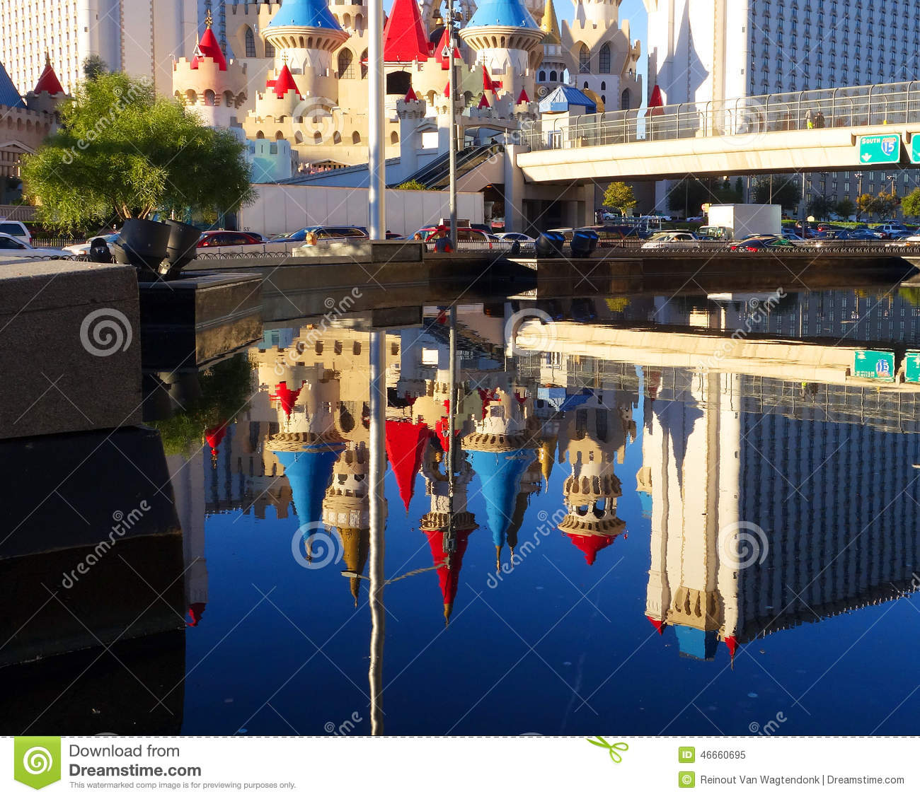 Excalibur casino reflected in las vegas pool editorial for Pool show las vegas november