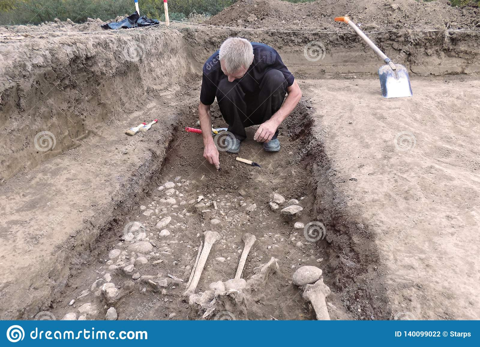 Excavación arqueológica El arqueólogo en un proceso picador, investigando la tumba, los huesos humanos, la pieza del esqueleto y