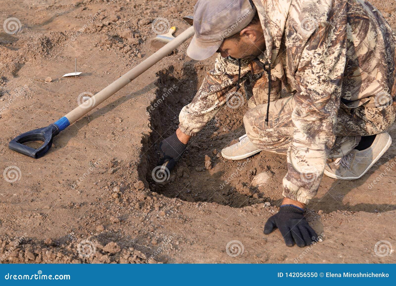 Excavaciones arqueológicas El arqueólogo en un proceso picador Las manos con la investigación que conduce sobre la tierra, pala d
