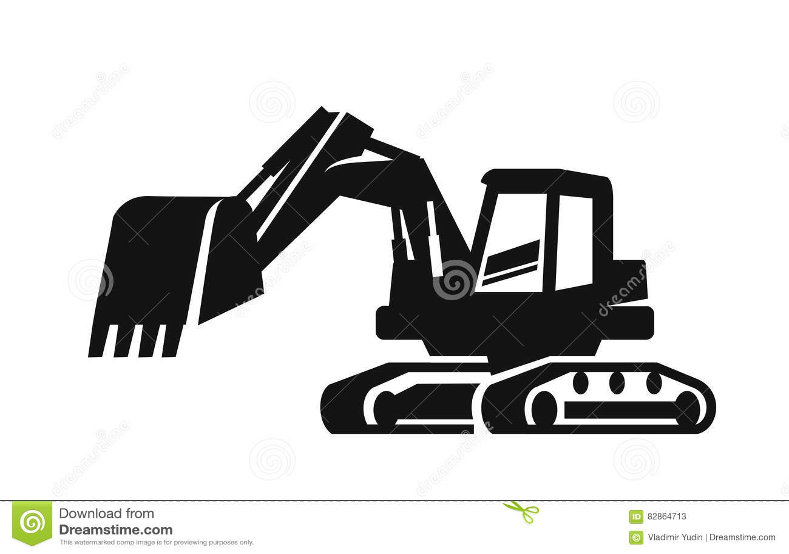 Excavador negro del vector