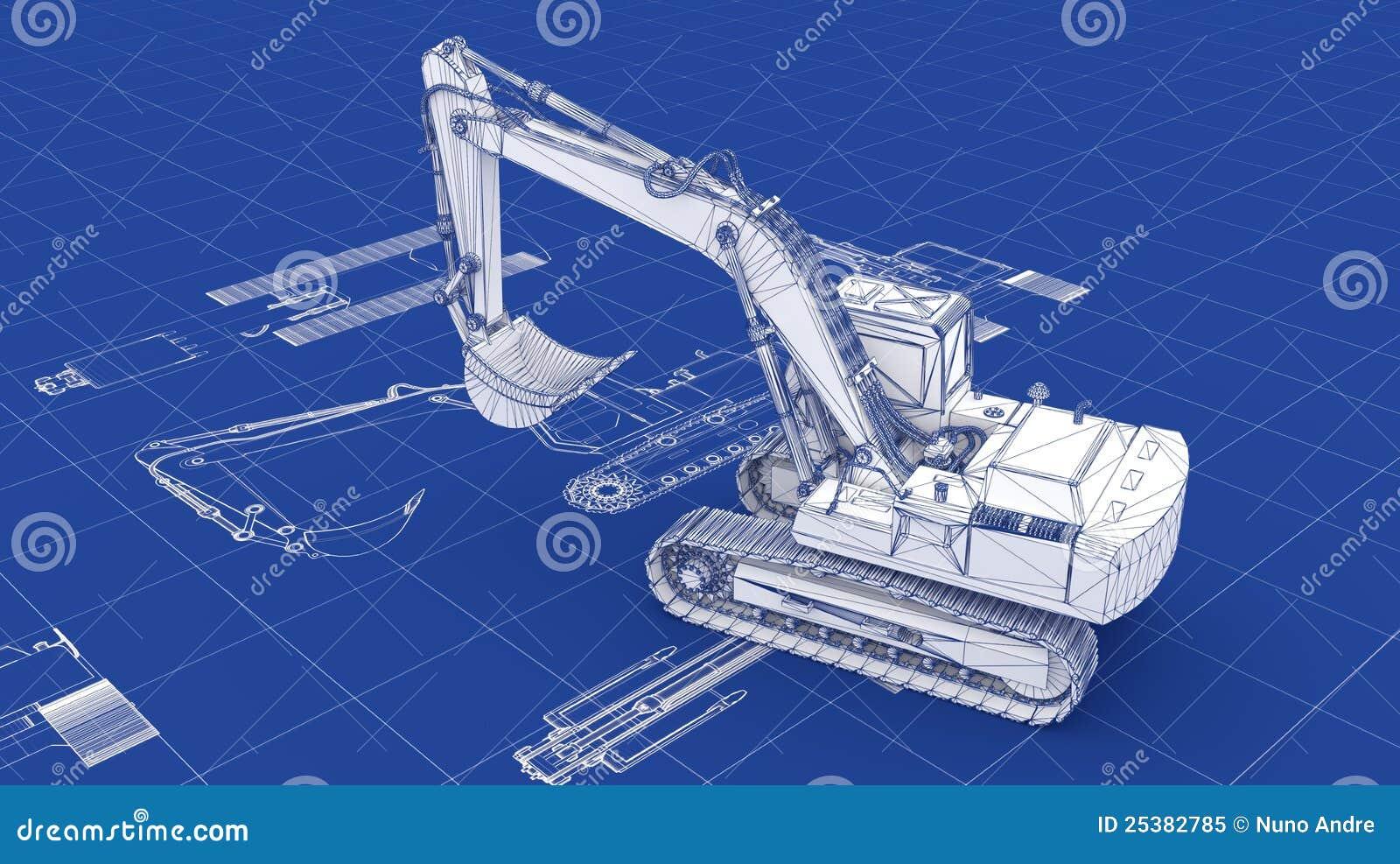 Excavator Blueprint Stock Illustration Image Of Loader