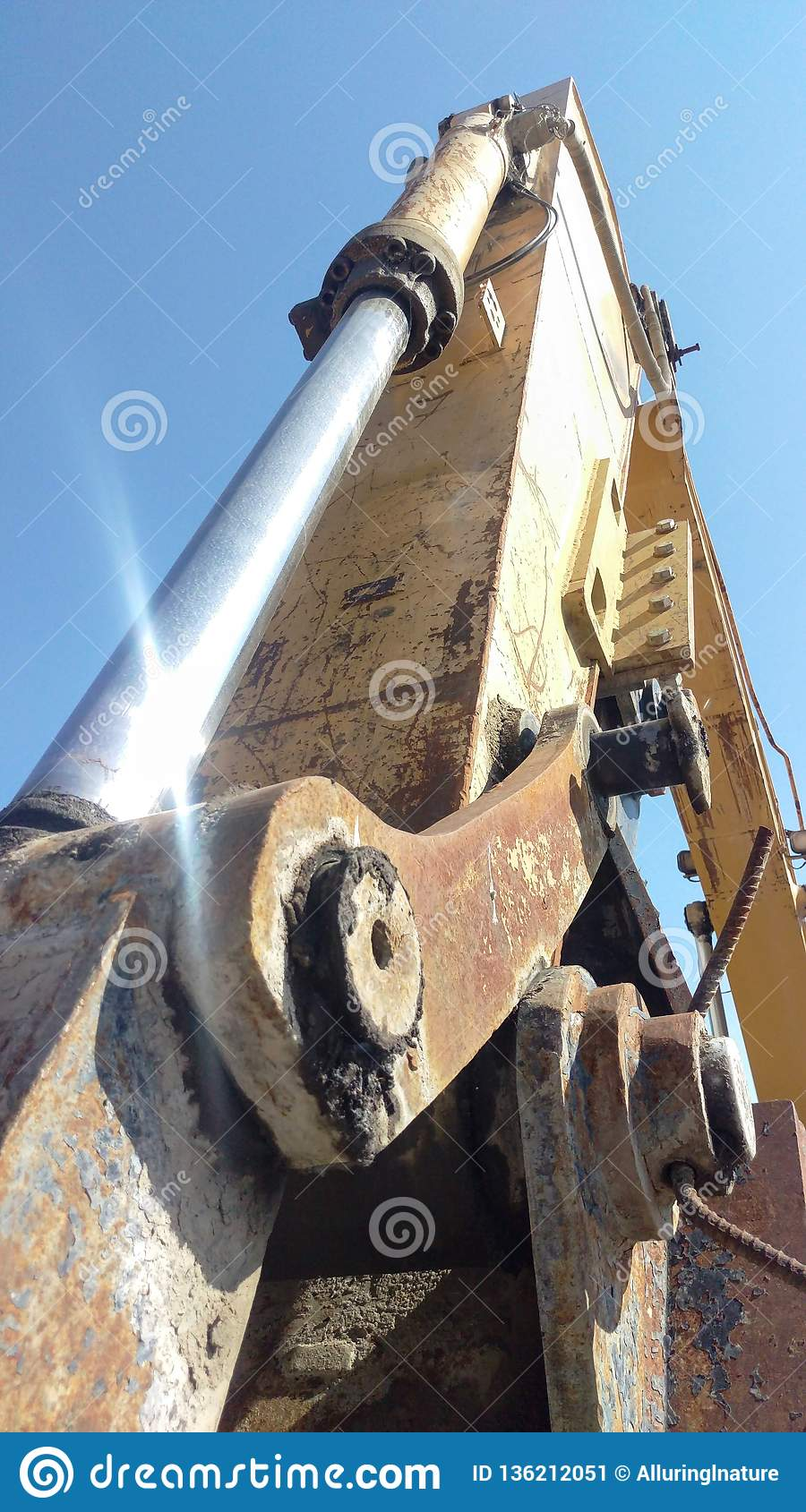 Excavator Boom And Hydraulic Cylinder Stock Image - Image of
