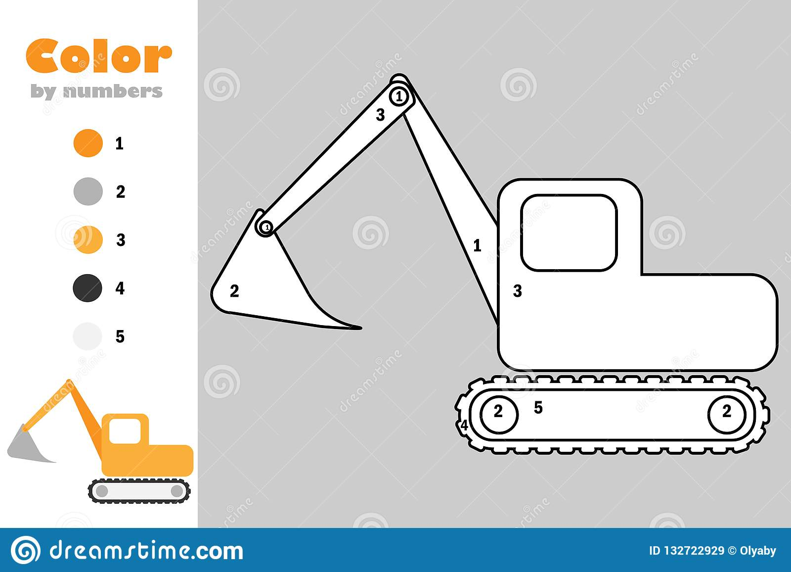 Excavator in cartoon style, color by number, education paper game for the development of children, coloring page, kids preschool