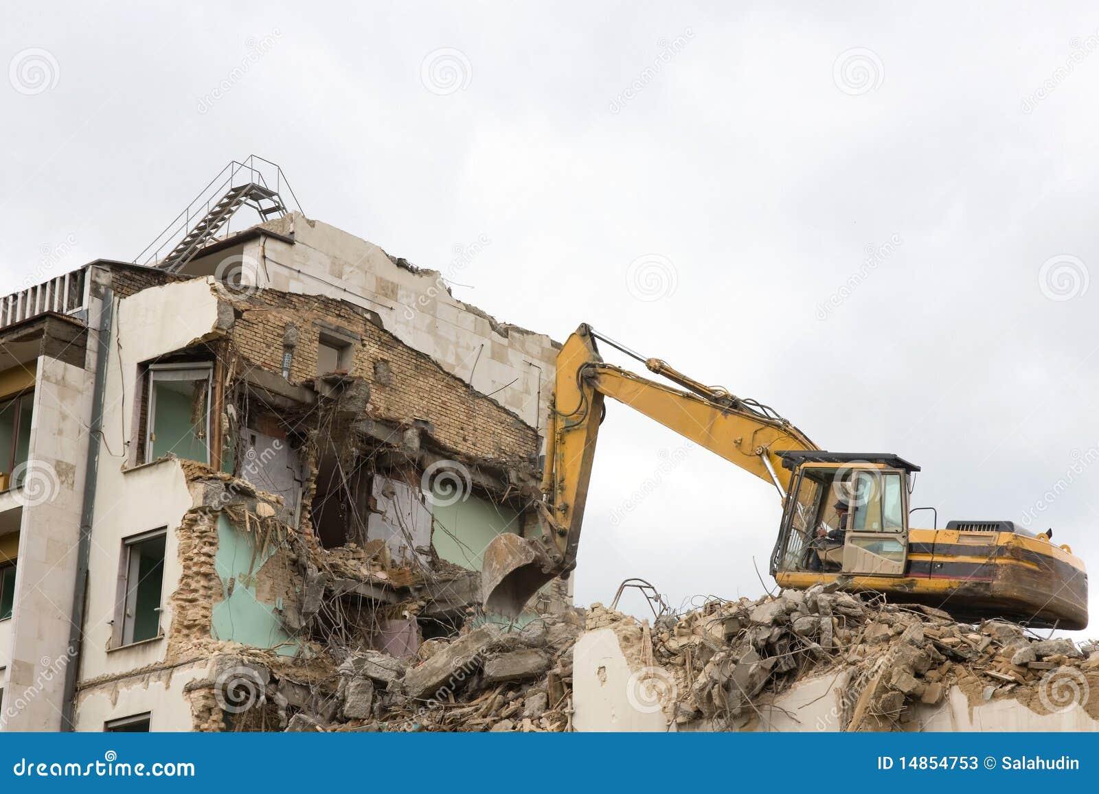 Excavator and destruction