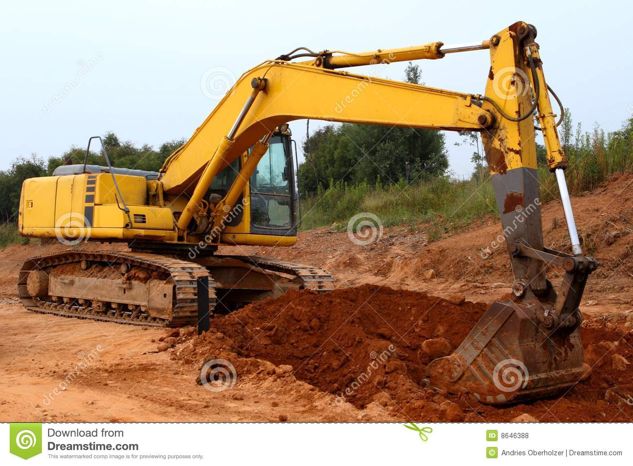 Excavator Digging Up Some Ground And Rocks #2 Stock Photo ...