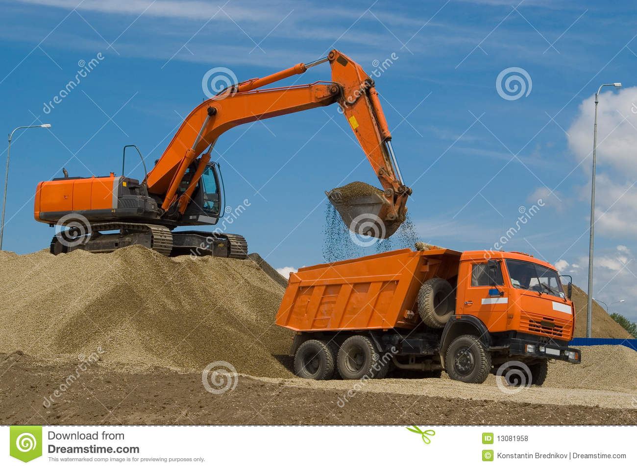 excavator and dump truck royalty free stock photos image 13081958