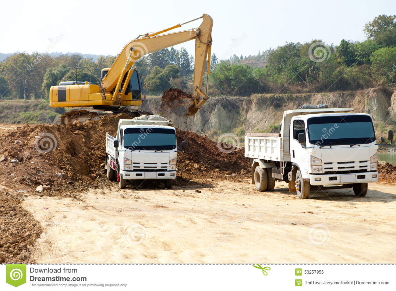 excavator and dump truck tipper in construction site stock photo image 53257956. Black Bedroom Furniture Sets. Home Design Ideas