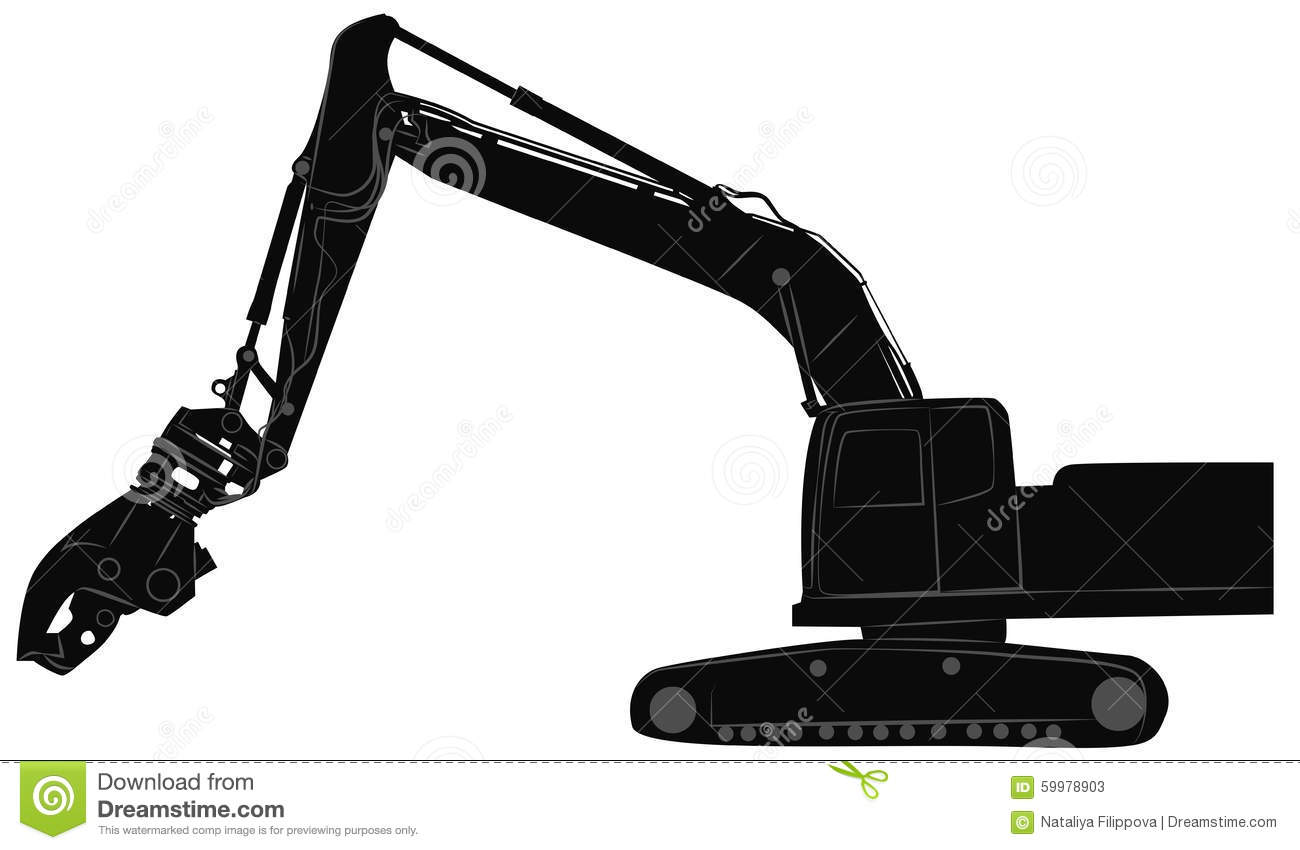 Excavator With Hydraulic Crusher Stock Vector - Image ...