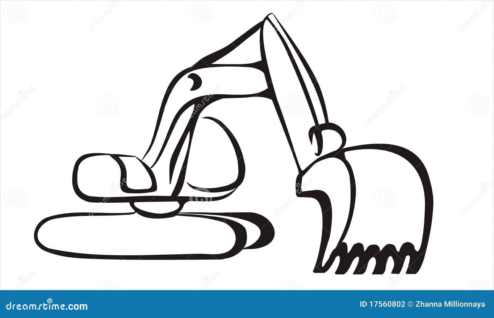 Excavator Icon In Simple Black Lines Stock Vector Image