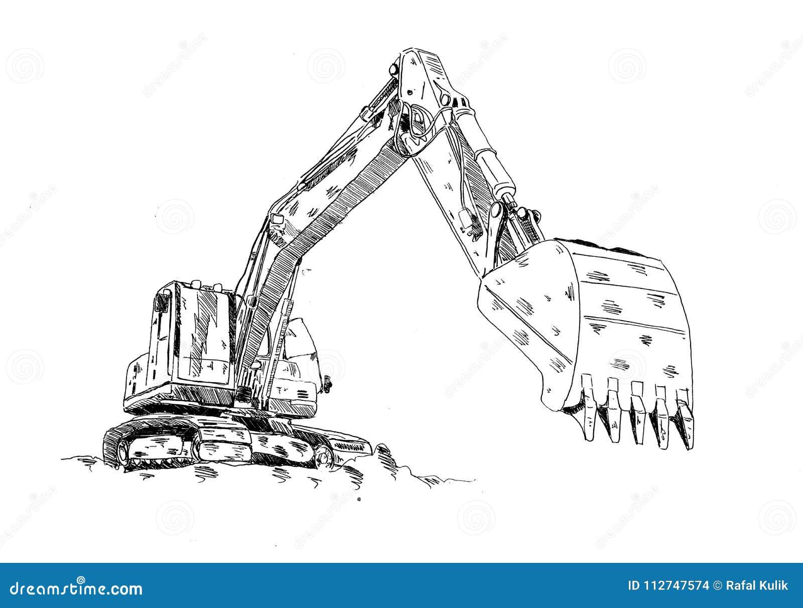 Excavator Illustration Art Work Drawing Fun Sketch Stock