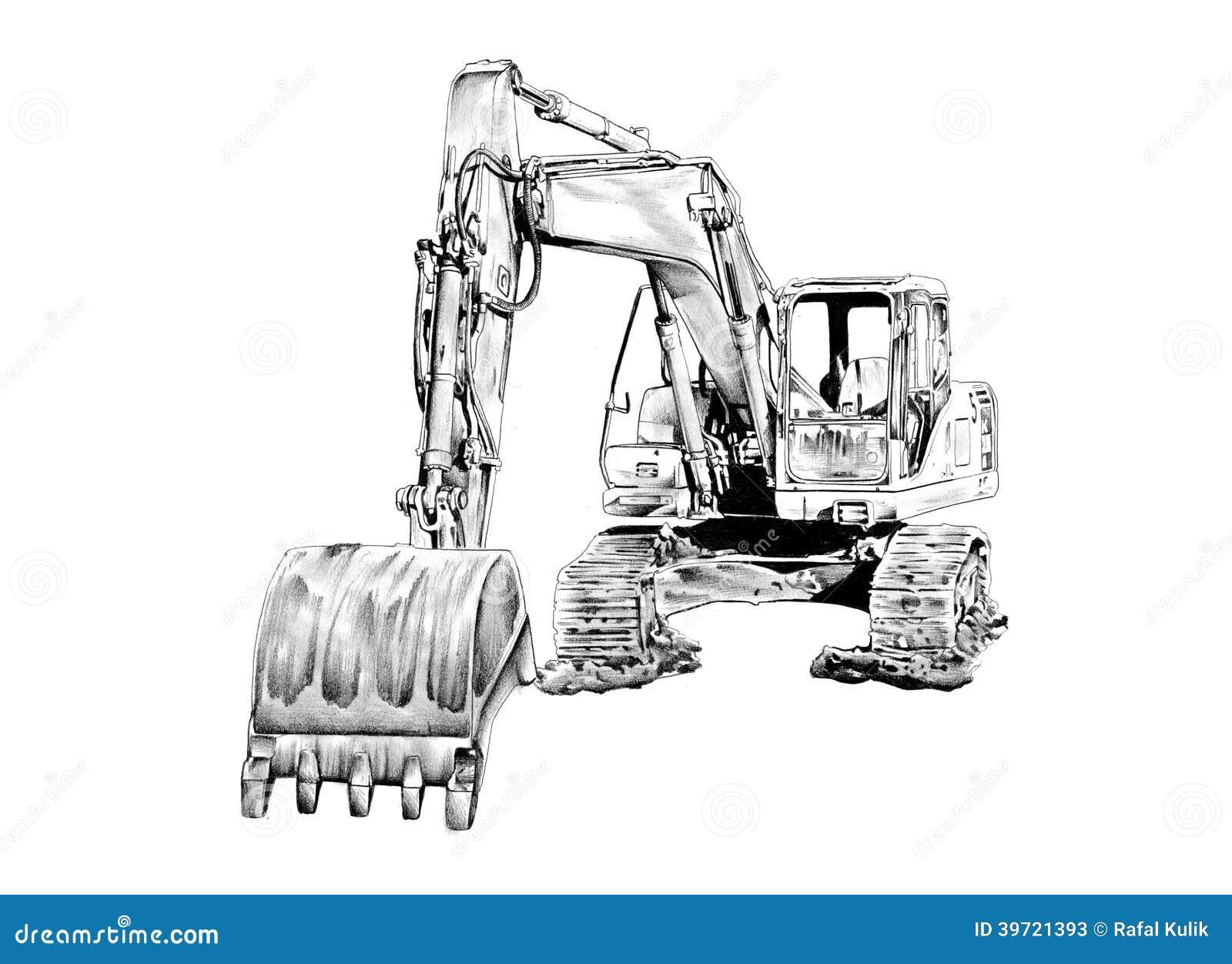 Excavator Illustration Isolated Art Drawing Stock