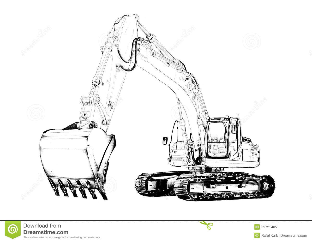 Excavator Illustration Isolated Art Drawing Stock