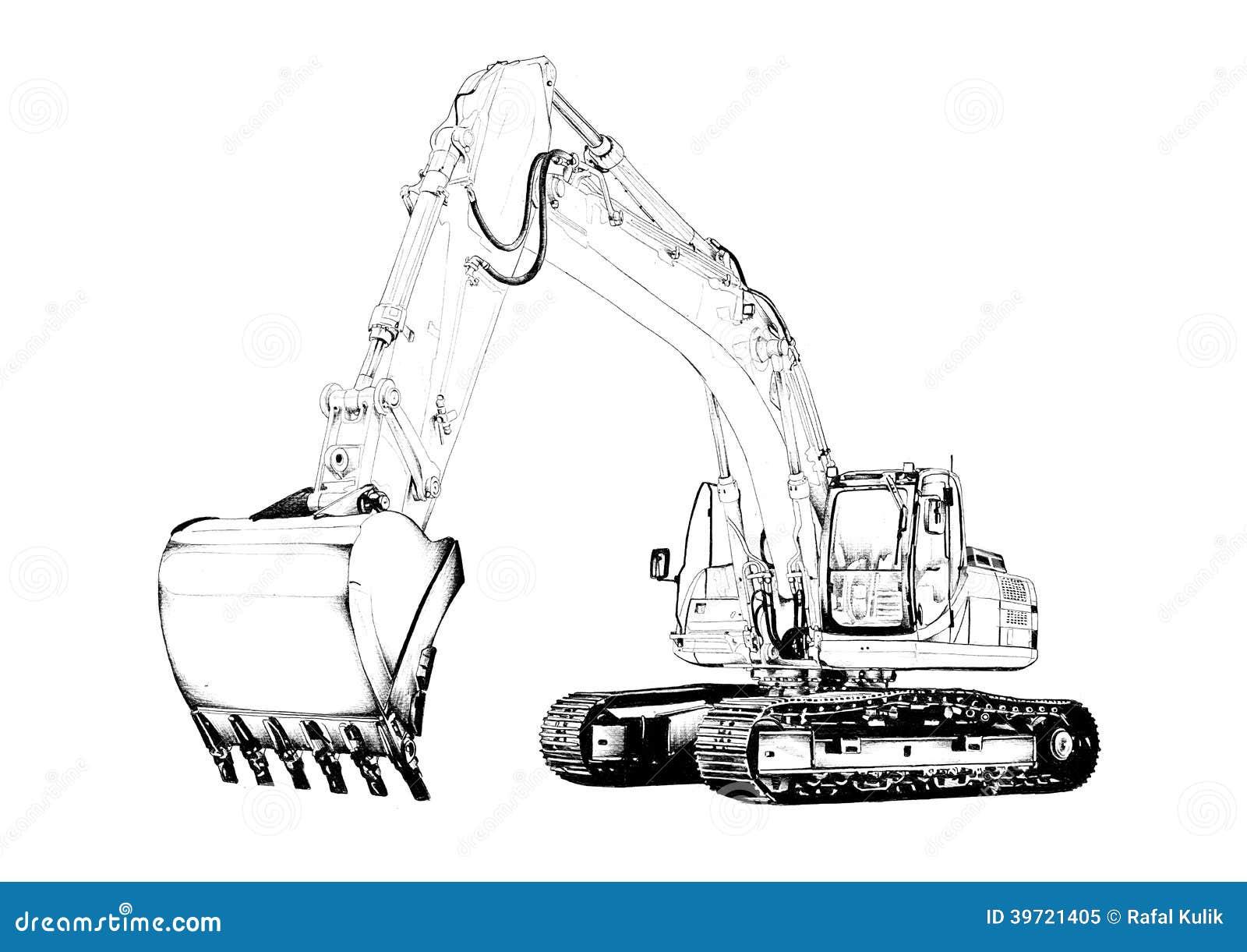 Excavator Illustration Isolated Art Drawing Stock Illustration - Image: 39721405