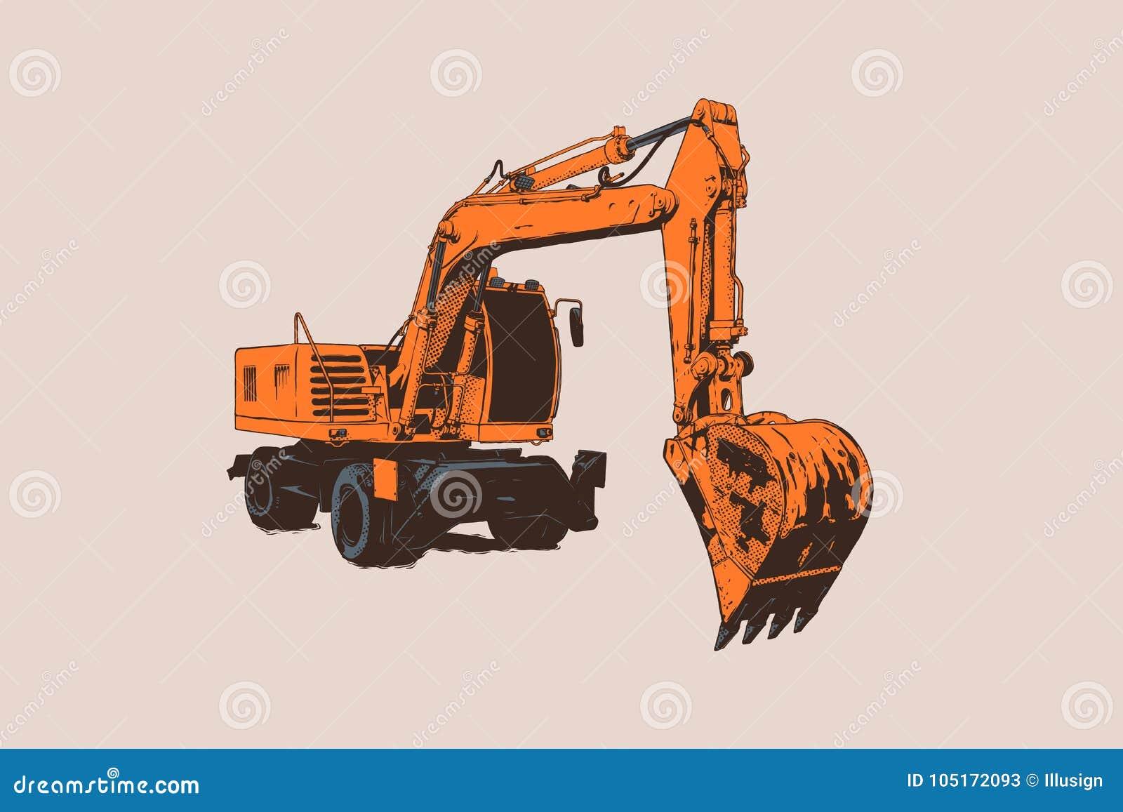 Excavator Isolado Equipamento especial Máquina escavadora Ilustração do vetor