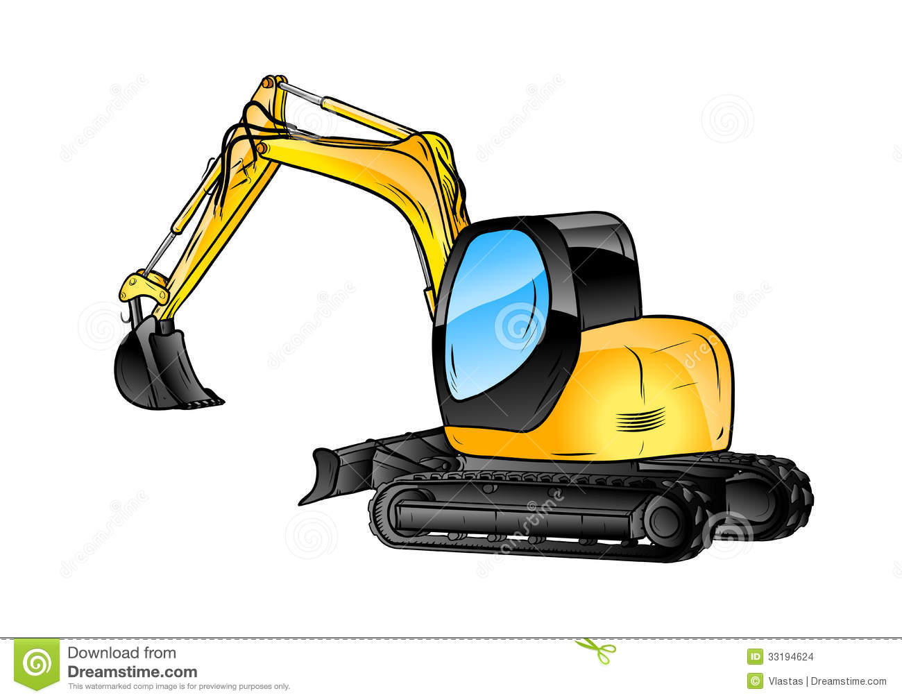 Excavator Isolated Stock Vector Illustration Of Pencil